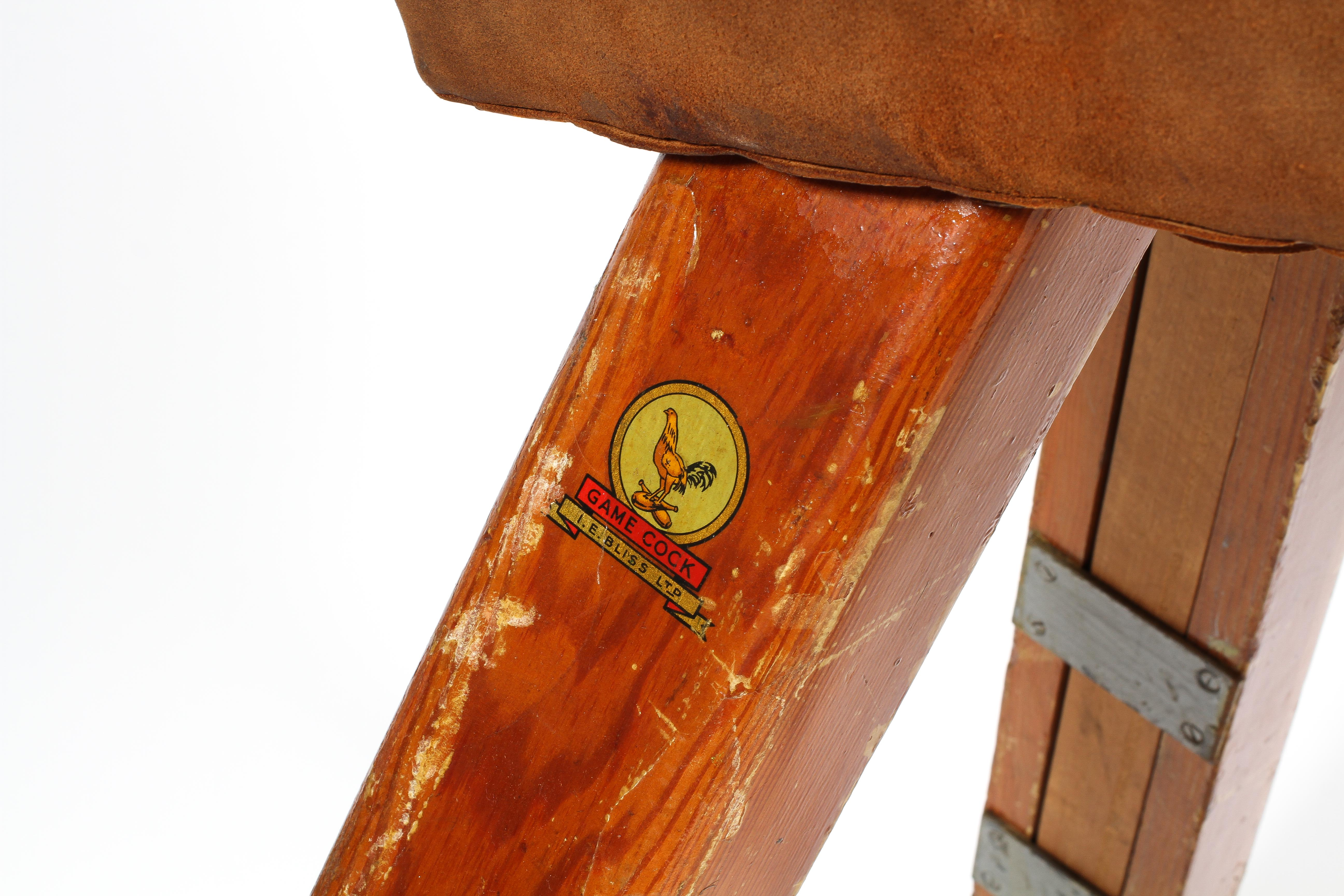 A vintage pommel horse by IE Bliss Ltd, in tan suede, on splayed legs, bearing yellow label, - Image 2 of 2