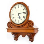 A golden oak cased Fusee wall clock, the enamelled dial named for G.W. Barker/Chiswick