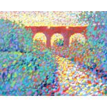 Paul Stephens, 'Somerton Viaduct, Late Afternoon', oil on panel, signed lower left, framed,