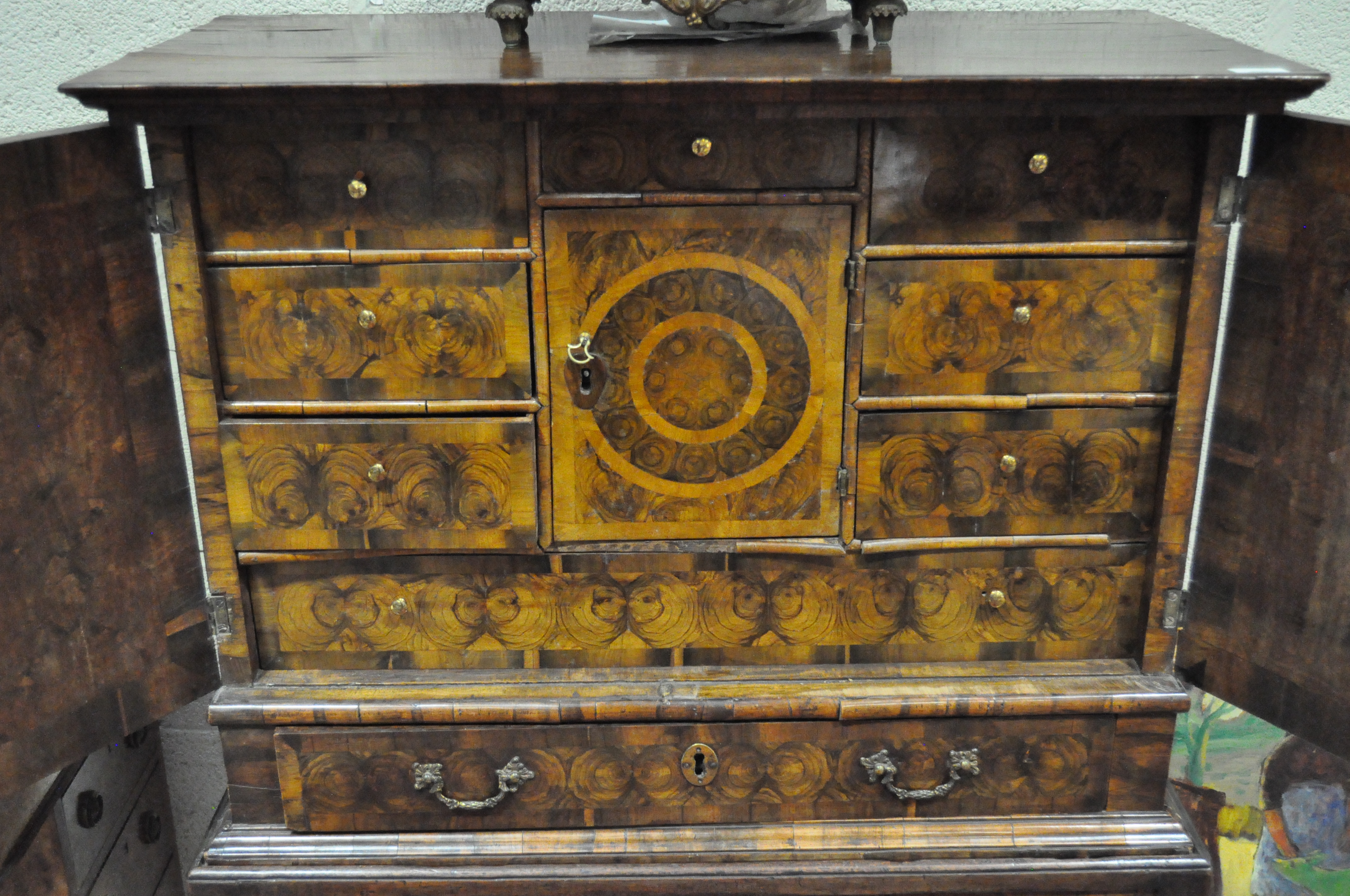 An oyster veneered cabinet on stand, 17th century style but later in date, - Image 12 of 18