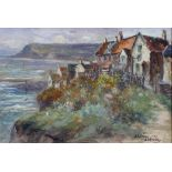 J Ulric, Walmsley, Coastal Village Scene, oil on canvas, signed and dated 1909 lower right,