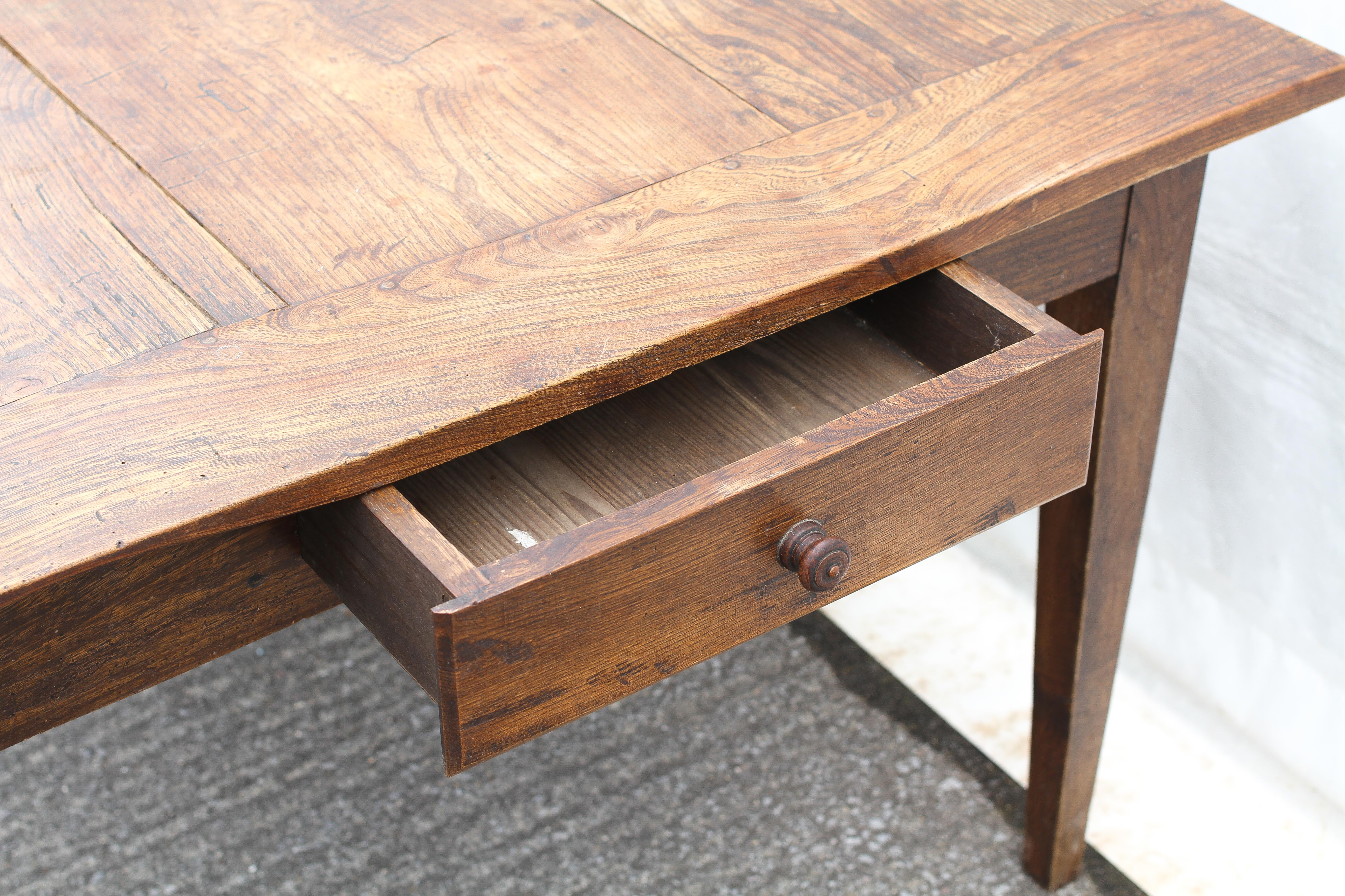 An elm refectory table, possibly French, the cleated, - Image 5 of 5