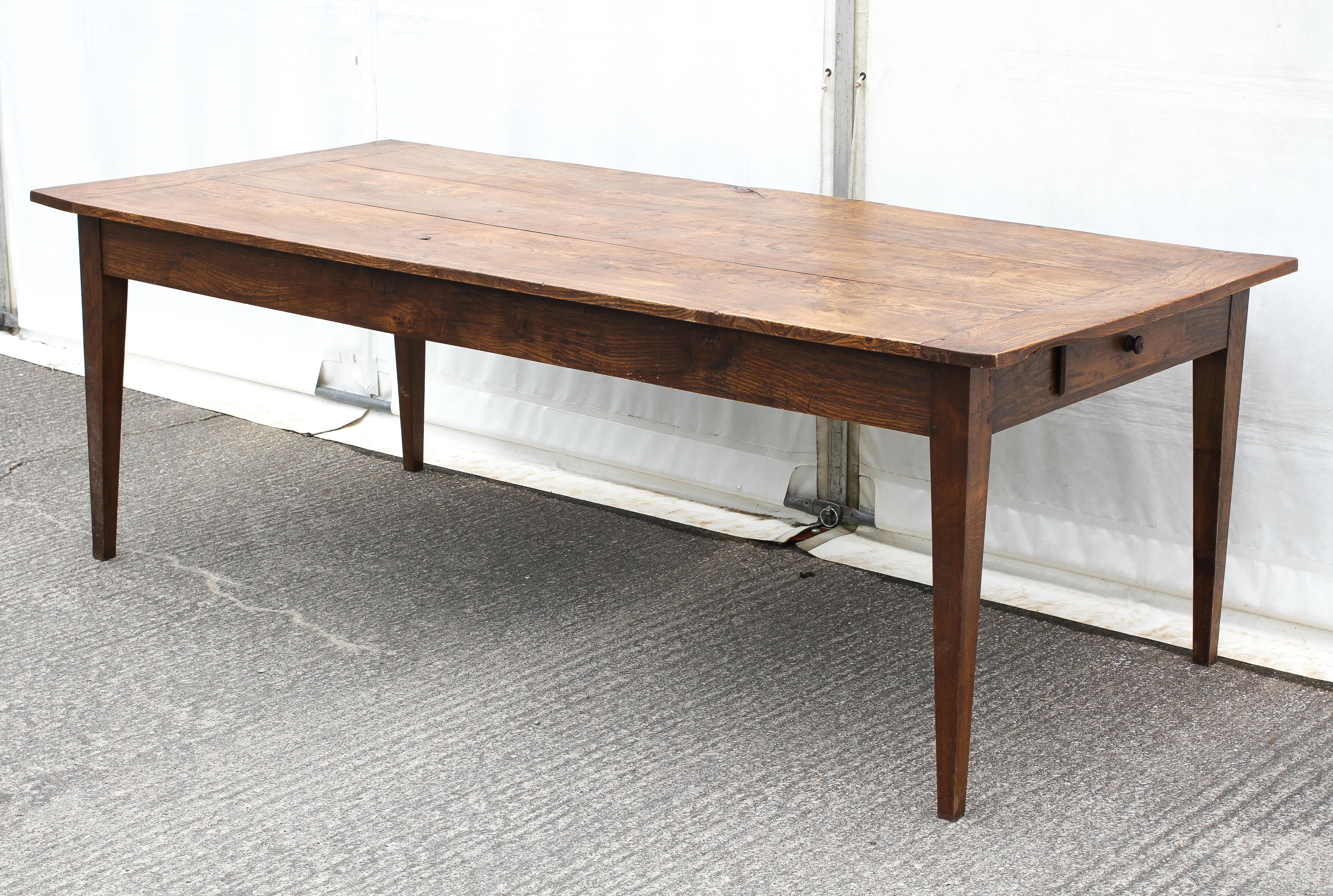 An elm refectory table, possibly French, the cleated, - Image 4 of 5