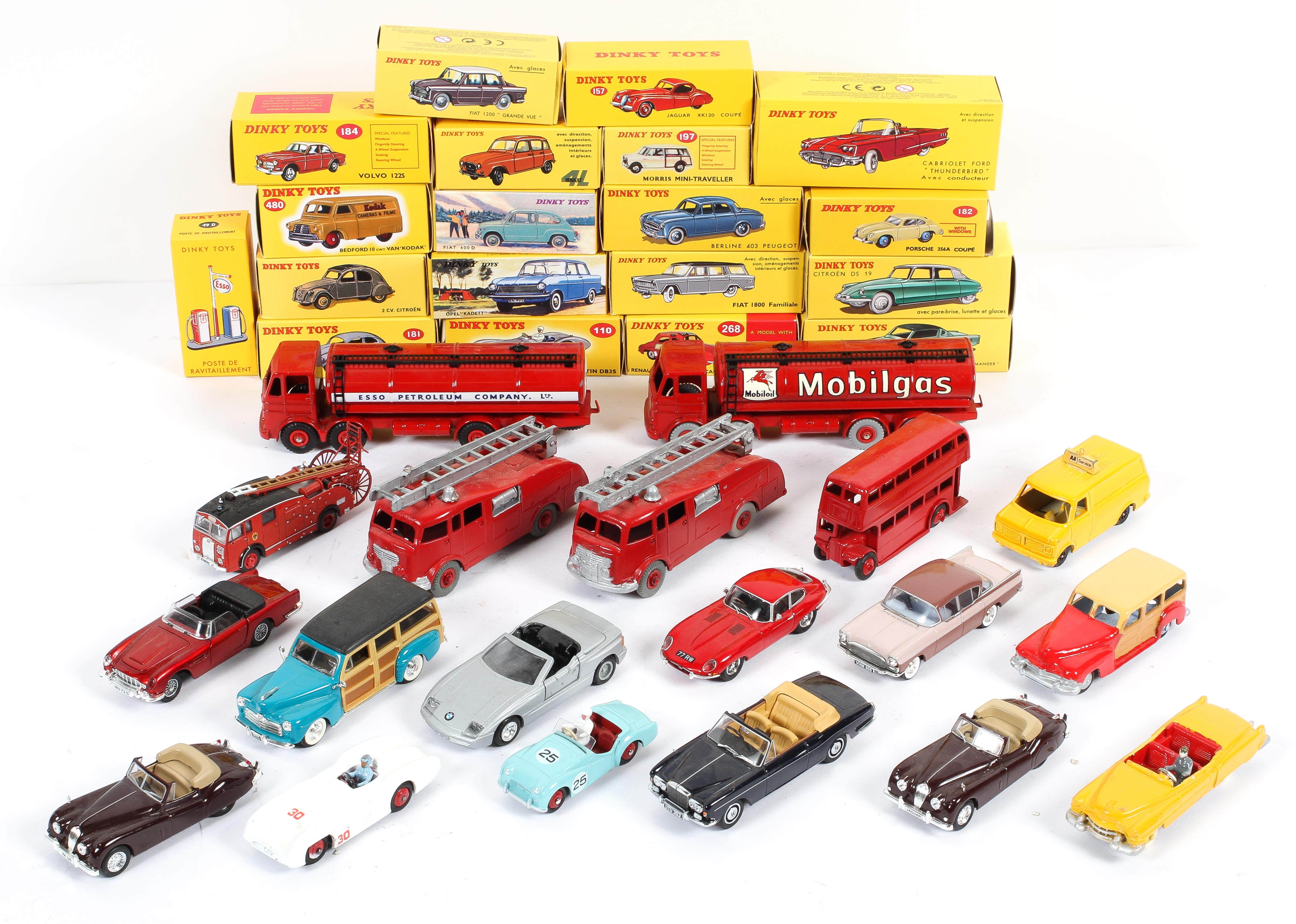 A collection of Dinky Toys in boxes, including: a Cabriolet Ford Thunderbird, an Aston Martin,