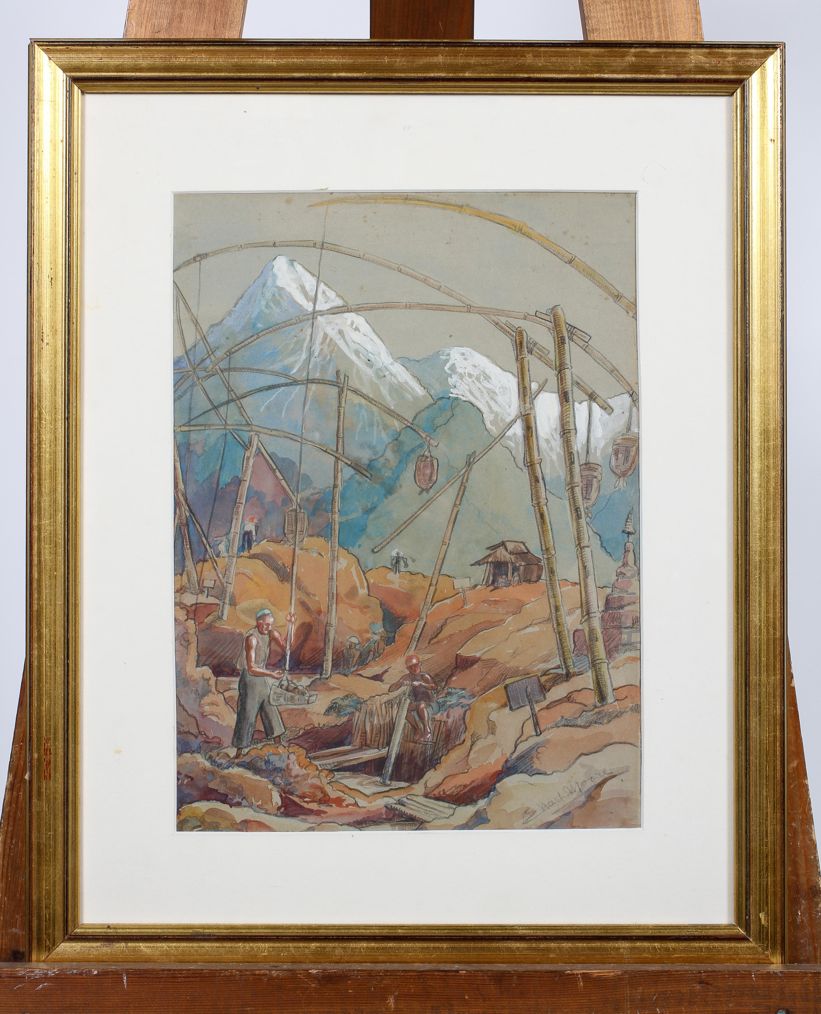 E Nash Moore, pencil and watercolour, Mountainous construction scene, signed lower right, - Image 2 of 4