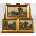 H Harris, three rural landscapes, oil on canvas, within giltwood frames, each signed,