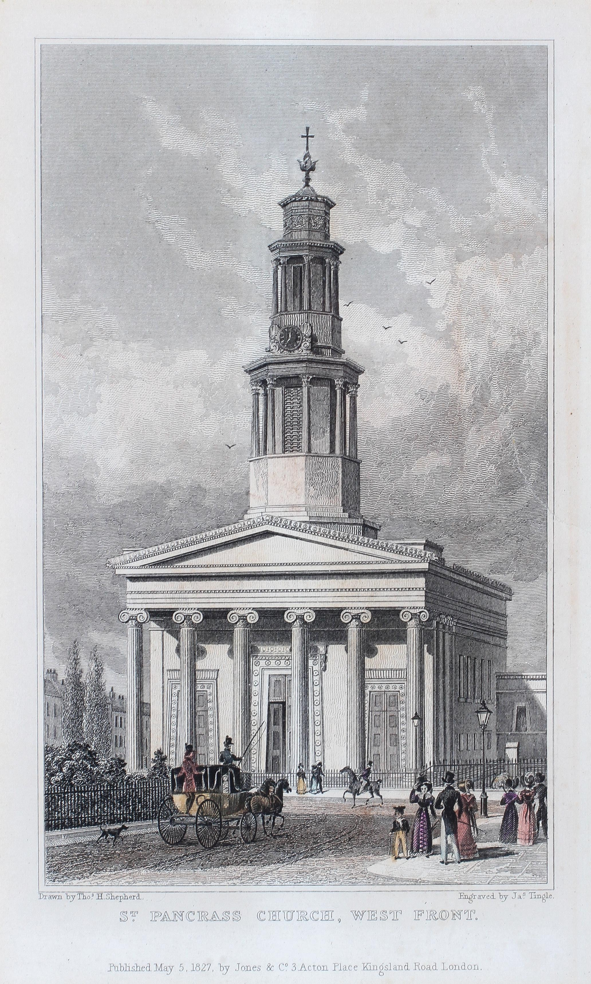 Two early 19th century coloured prints of London Churches, - Image 3 of 3