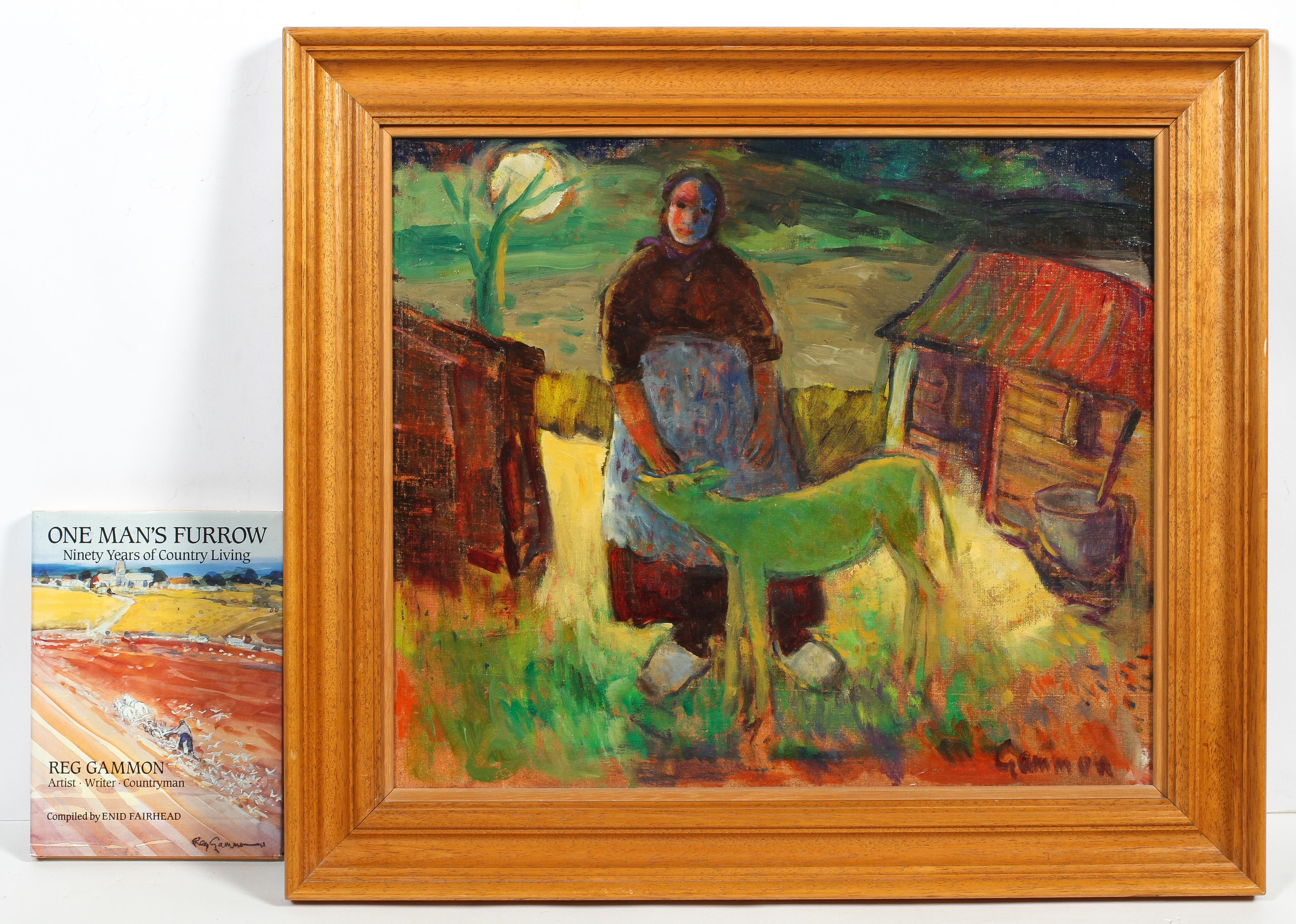 Reg Gammon, Green Calf, oil on board, signed lower right, framed, together with 'One Man's Furrow',