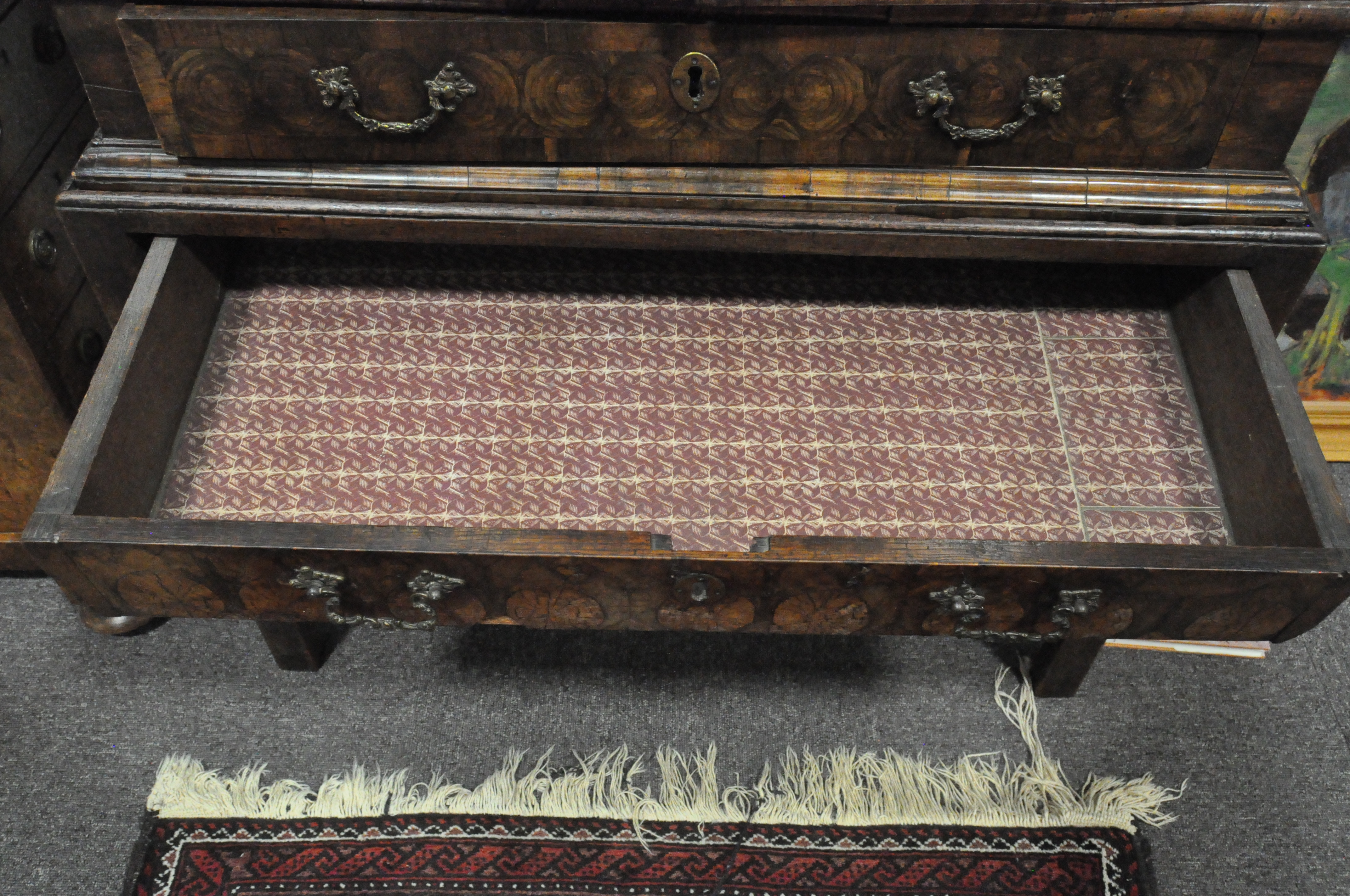 An oyster veneered cabinet on stand, 17th century style but later in date, - Image 9 of 18