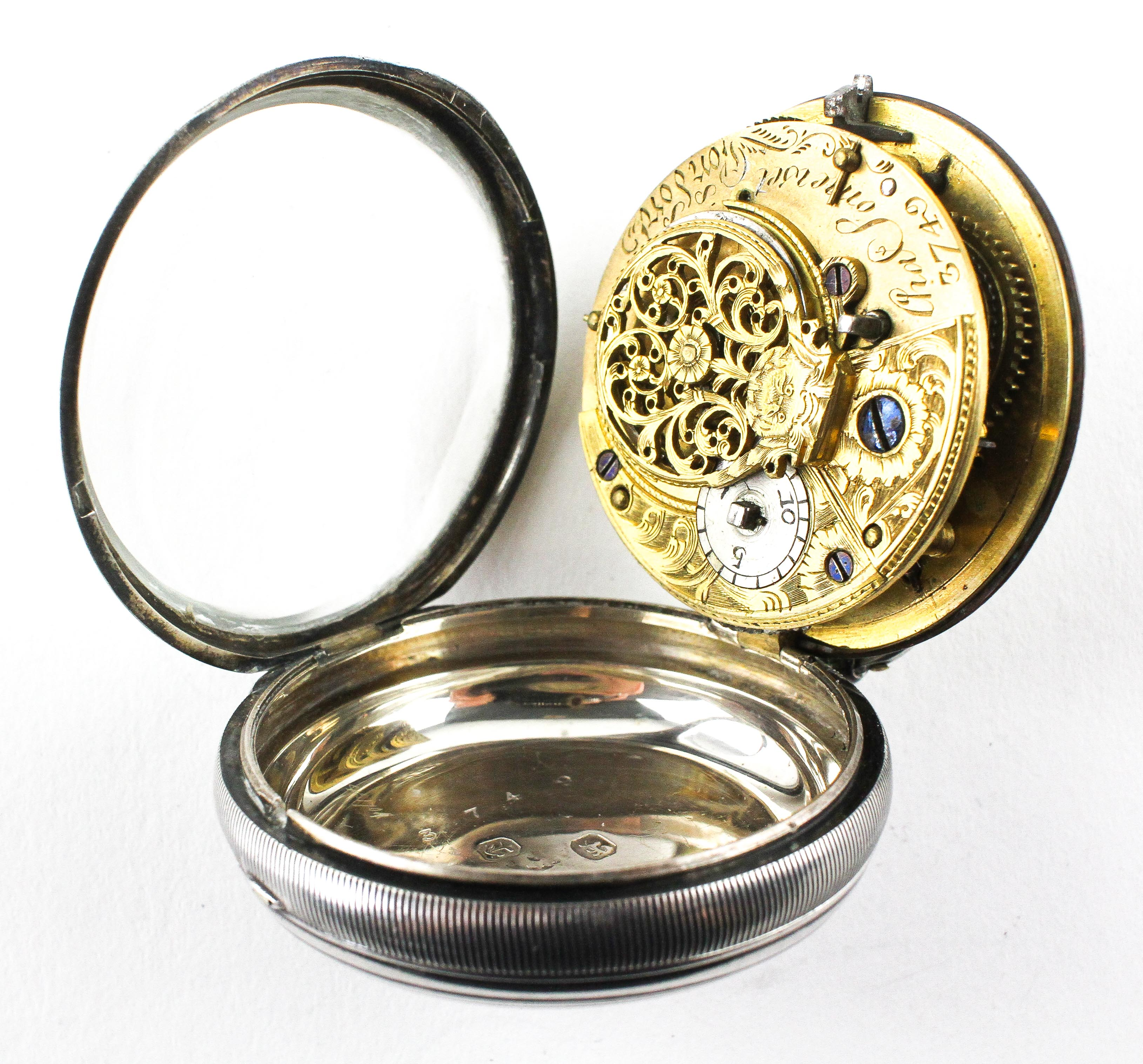 A large open face pocket watch. Circular white dial with roman numerals. Key wound movement. - Image 2 of 3