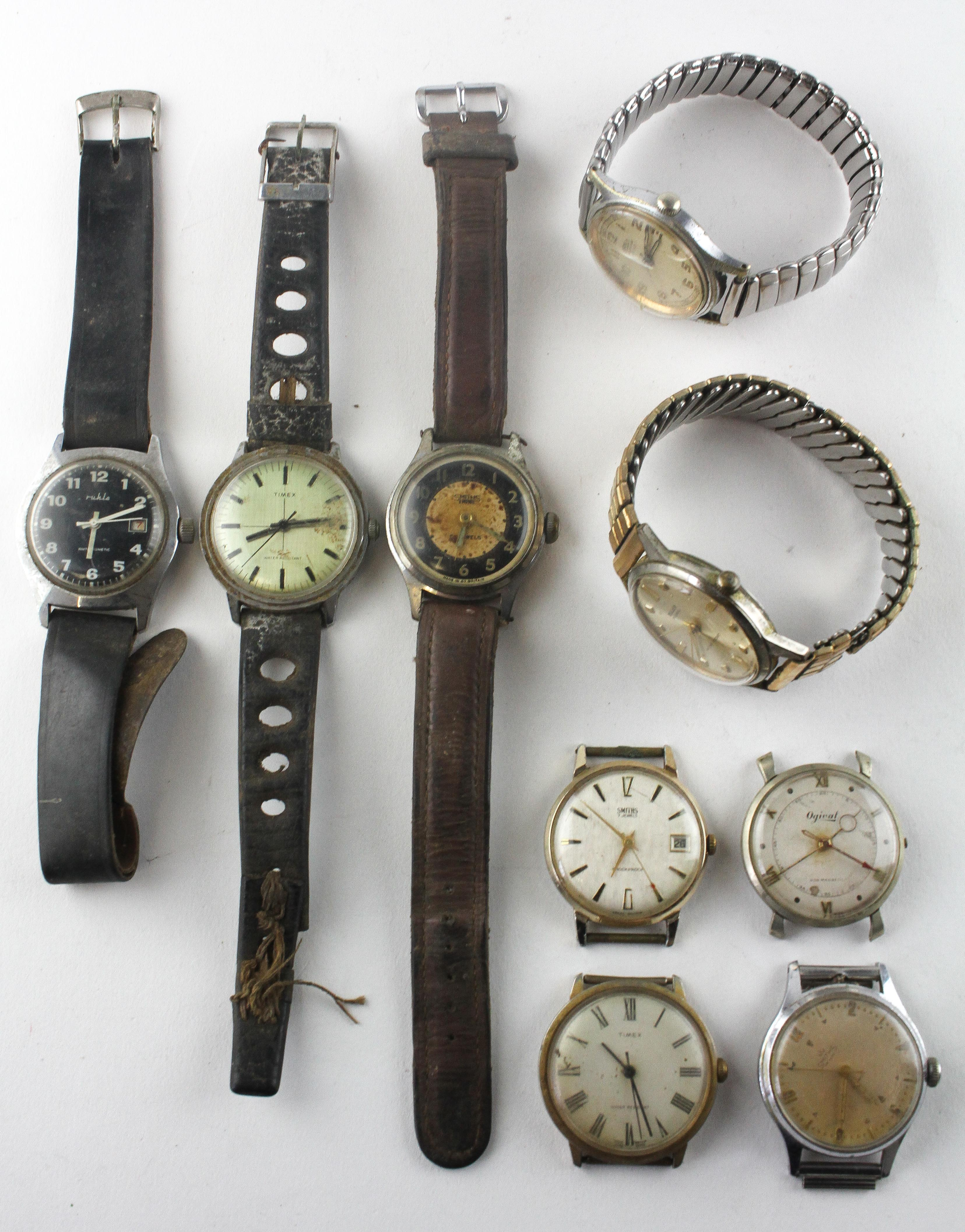 A collection of nine wristwatches of variable designs