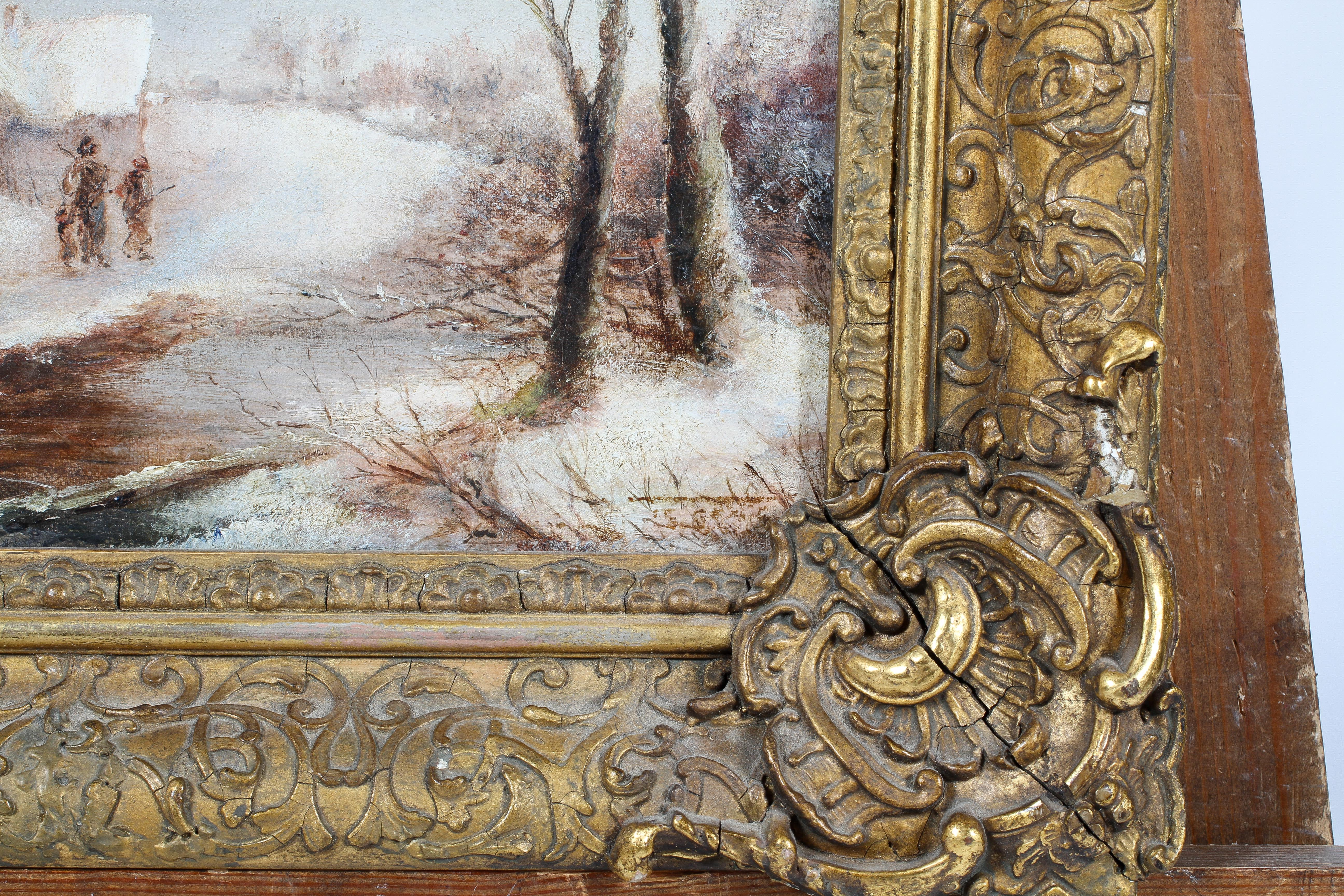 George Turner, Breadsall, Derbyshire - a snowy scene, oil on canvas, signed lower right, - Image 3 of 4