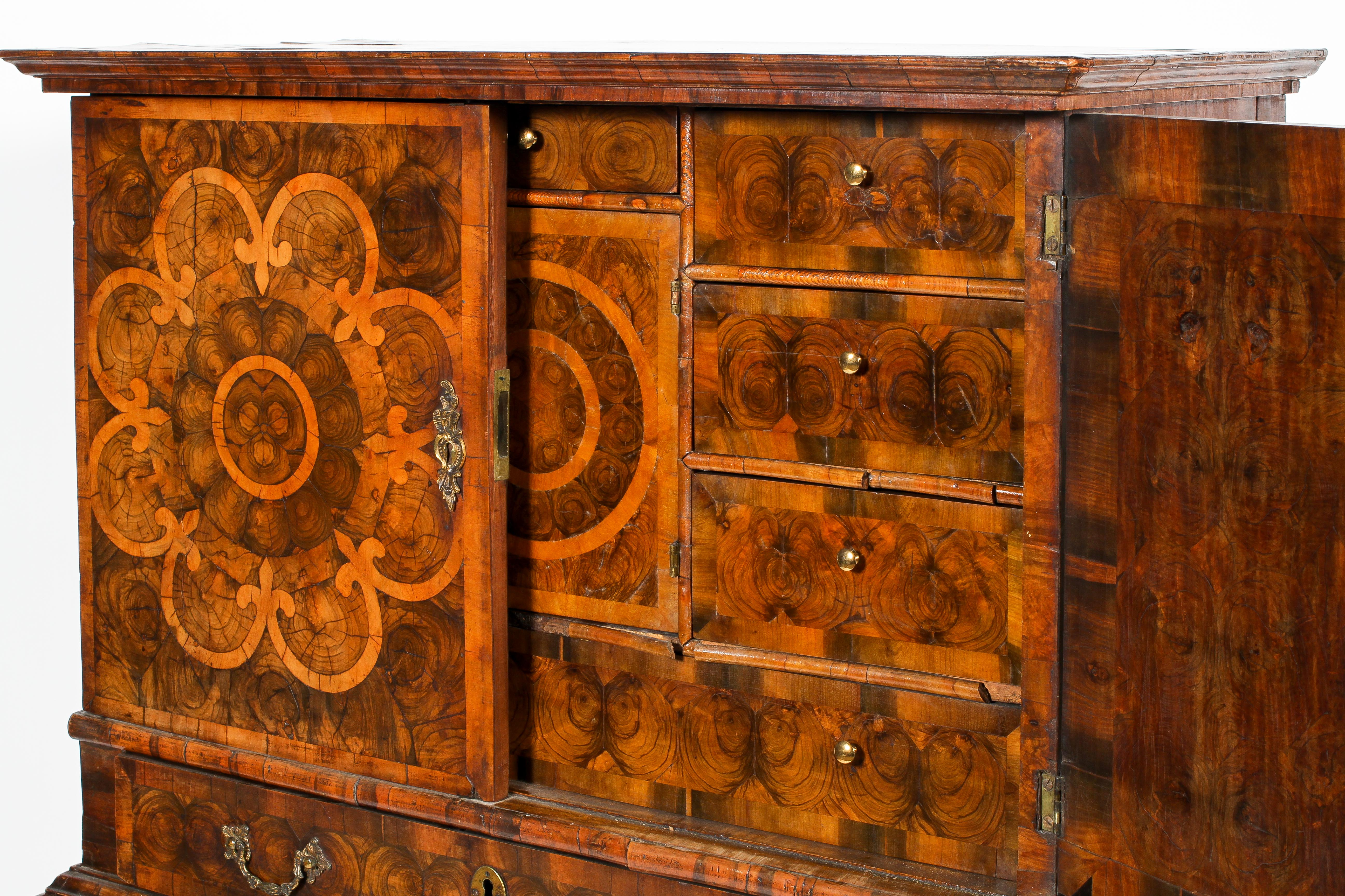 An oyster veneered cabinet on stand, 17th century style but later in date, - Image 2 of 18