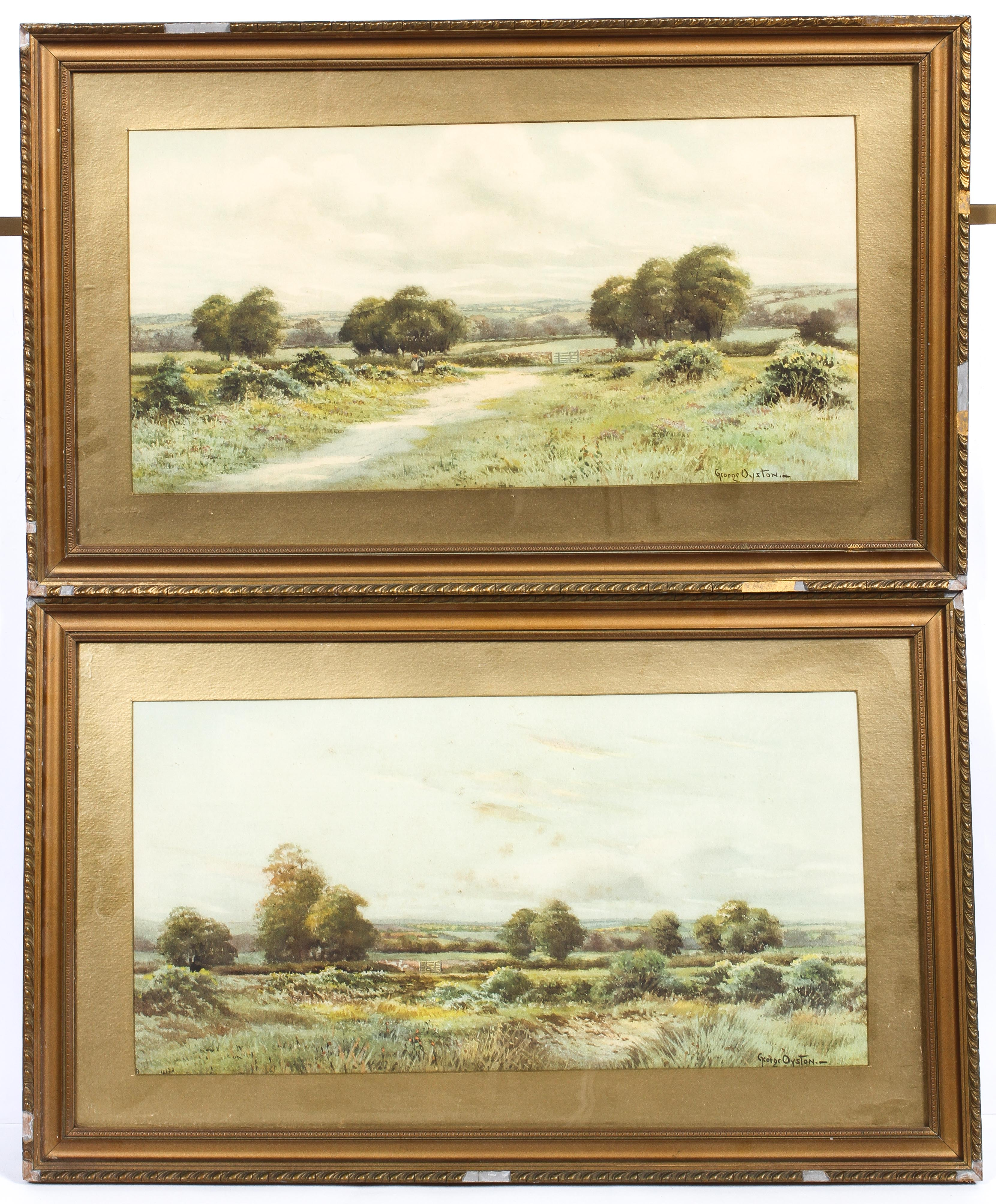 George Oyston (1861-1937), A pair of pastoral landscapes, signed lower right,