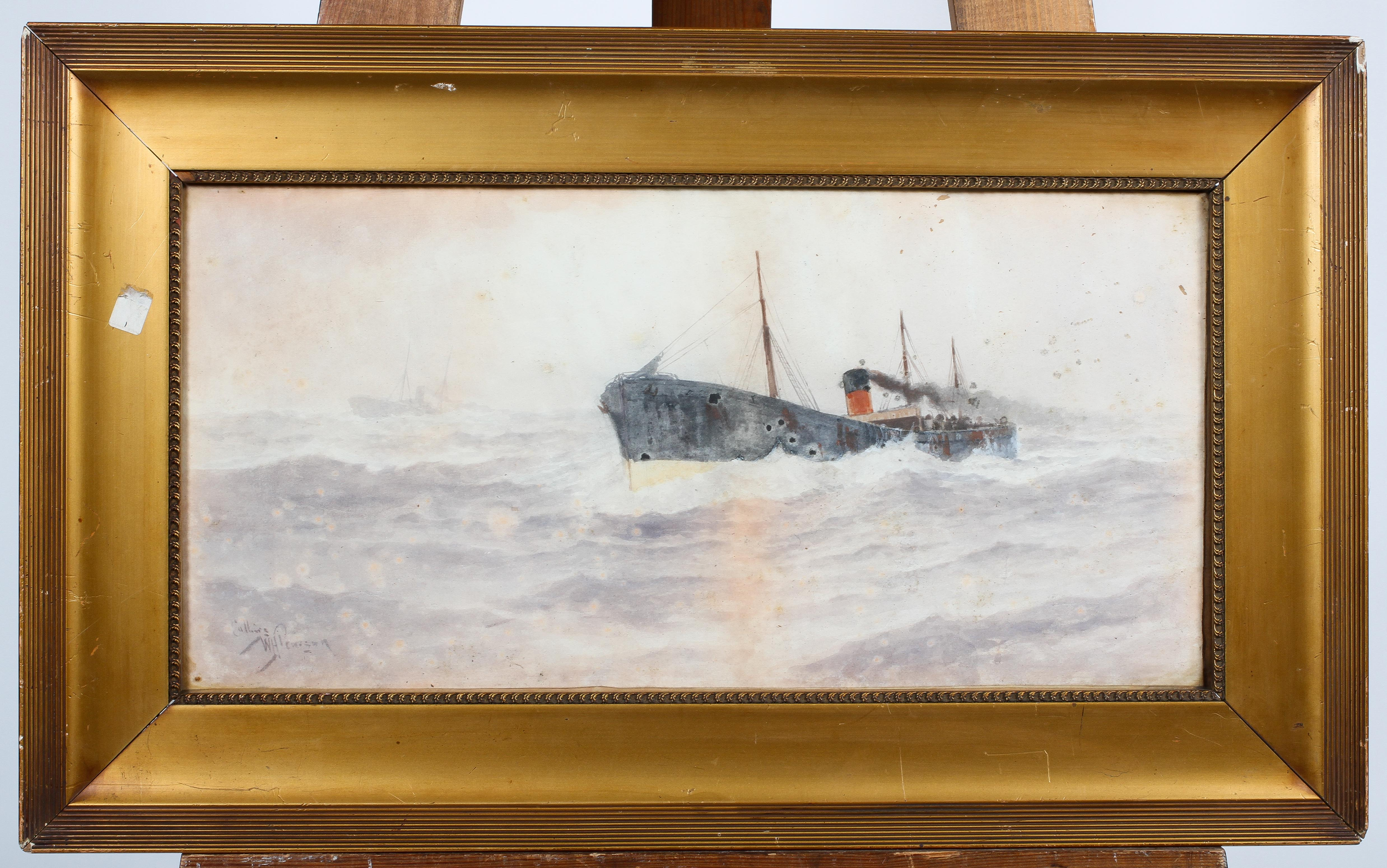 William Henry Pearson, watercolour of a Steamer, signed lower left, glazed and framed, - Image 2 of 4