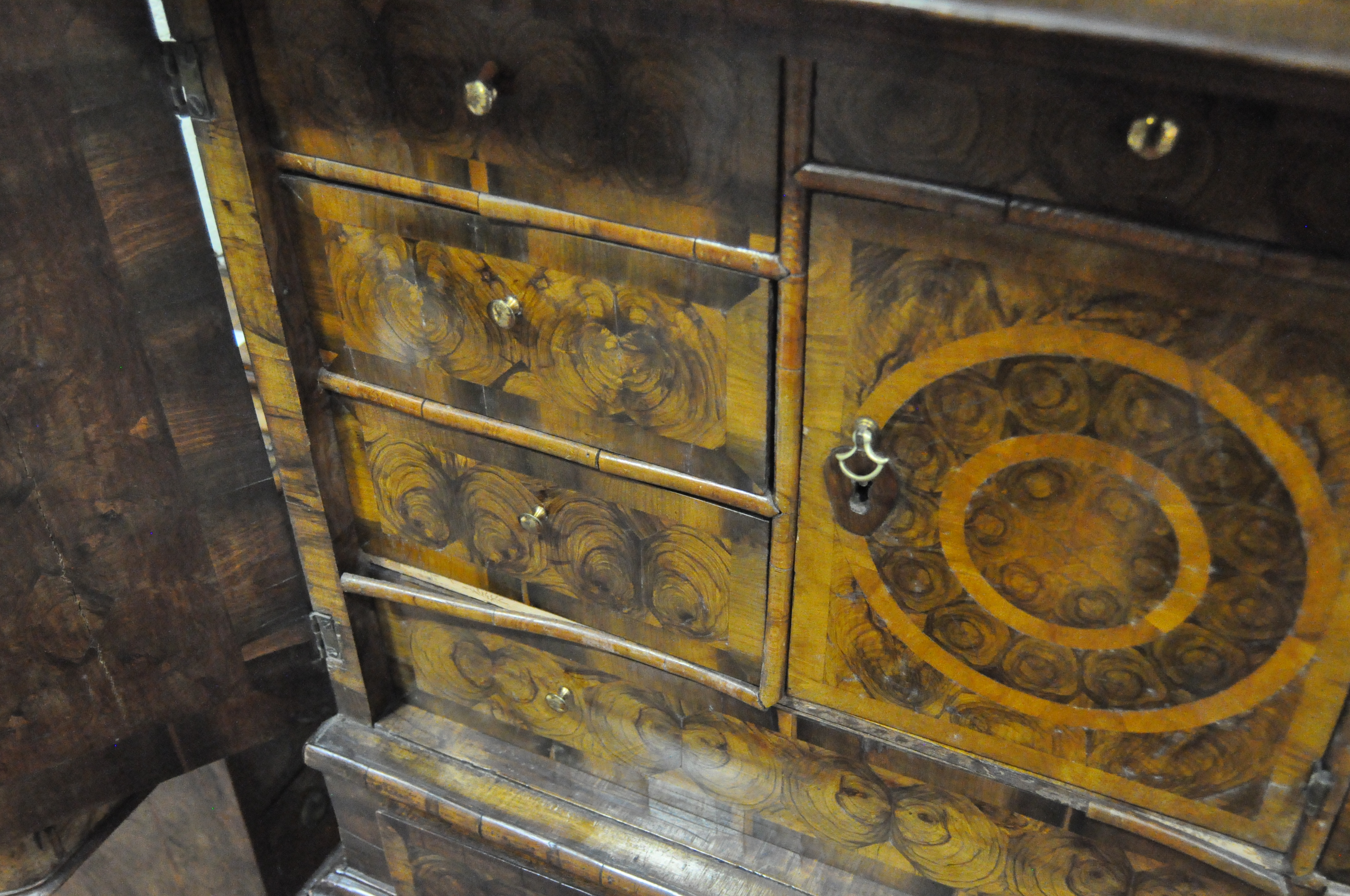 An oyster veneered cabinet on stand, 17th century style but later in date, - Image 17 of 18