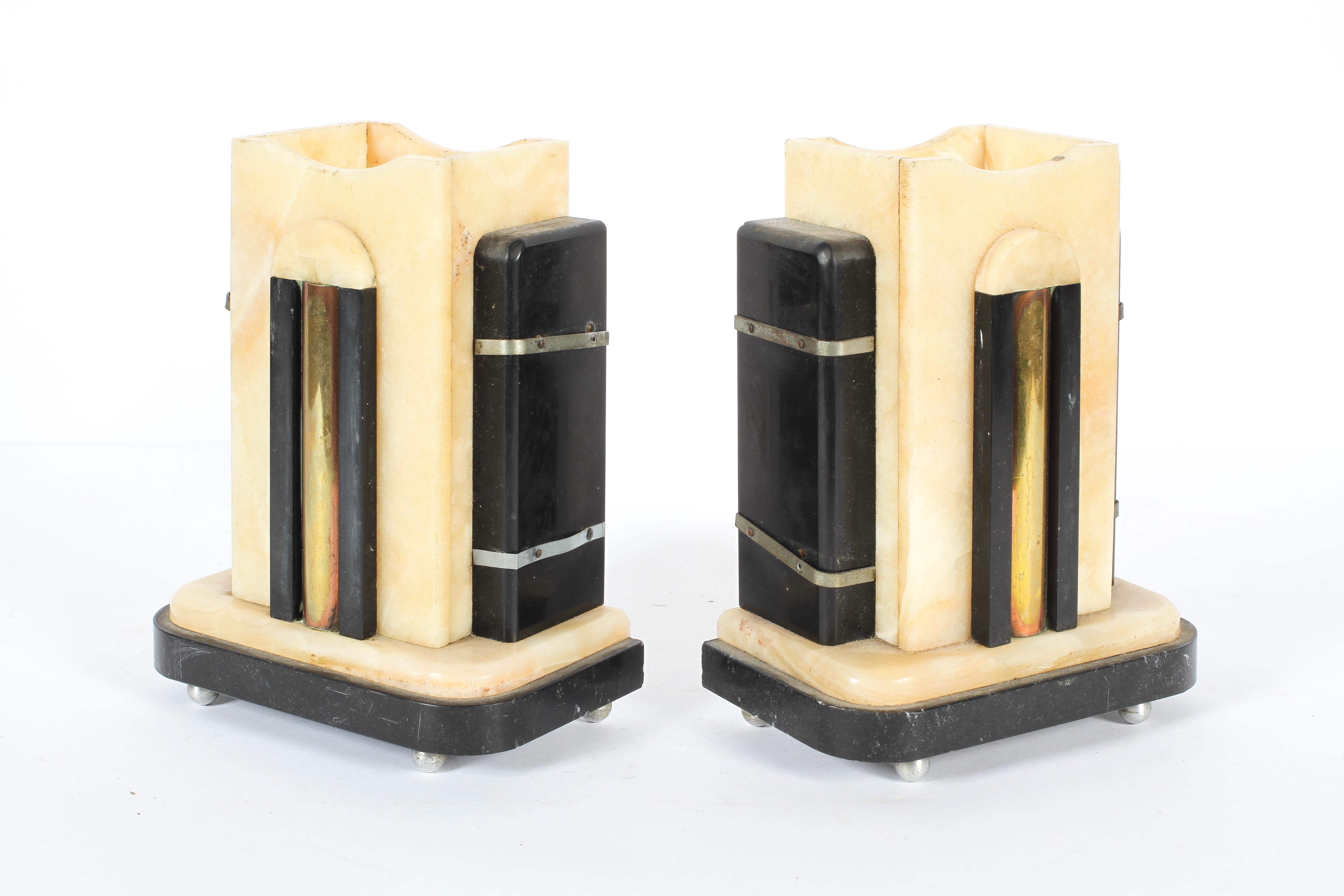 An art deco style clock garniture in alabaster and black slate or marble, - Image 2 of 3