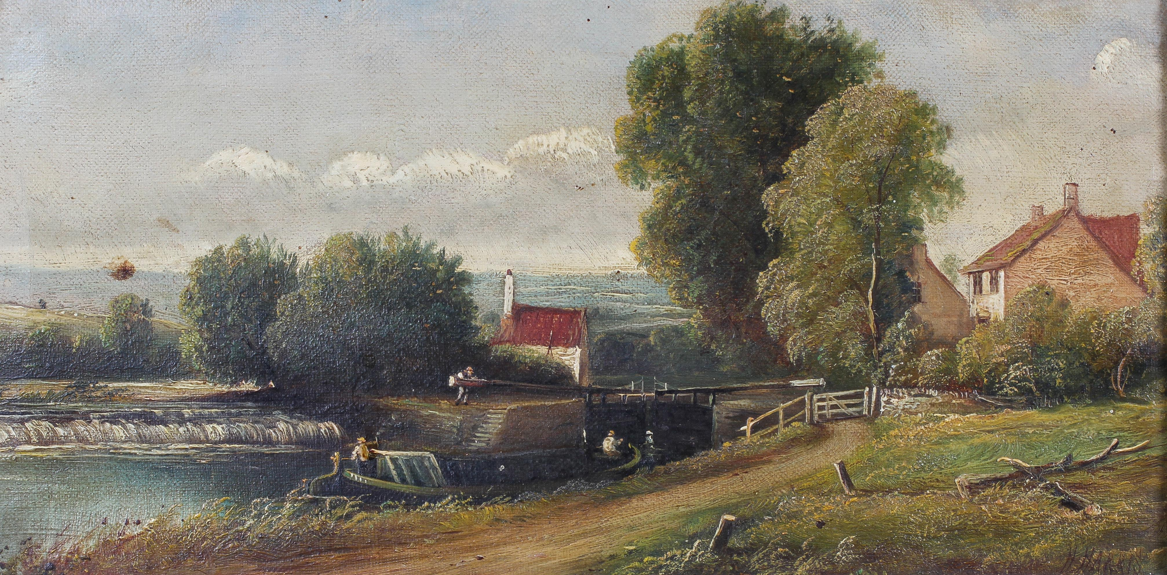 H Harris, three rural landscapes, oil on canvas, within giltwood frames, each signed, - Image 2 of 4