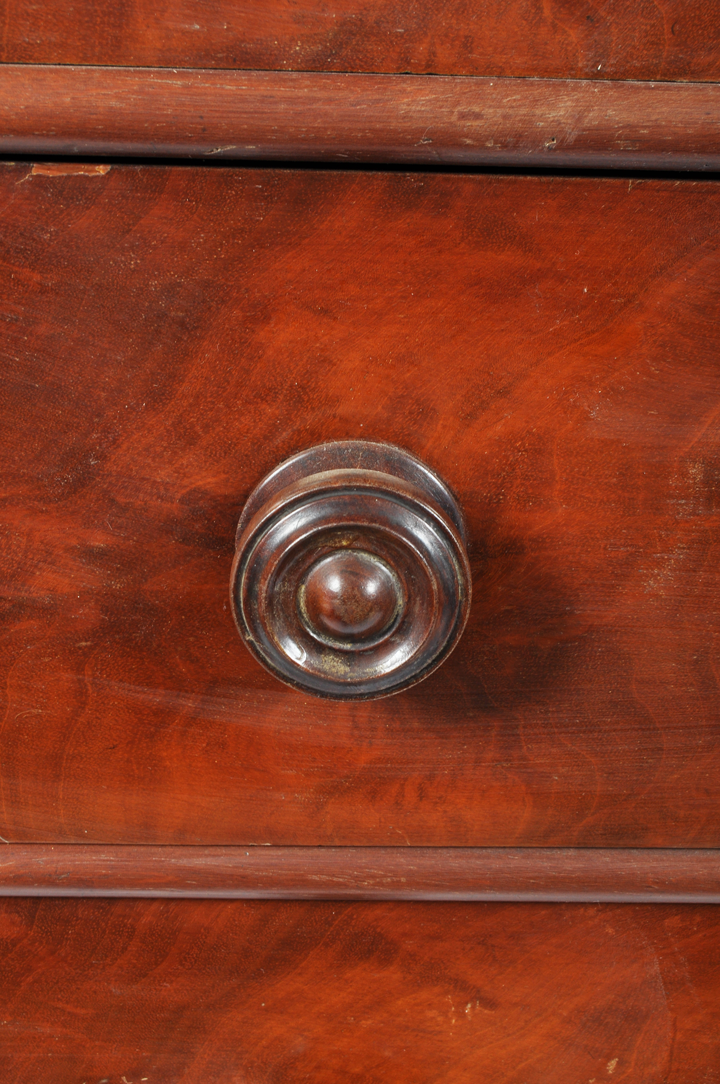 A Victorian mahogany chest of drawers, two short and four graduated long drawers with turned pulls, - Image 3 of 3