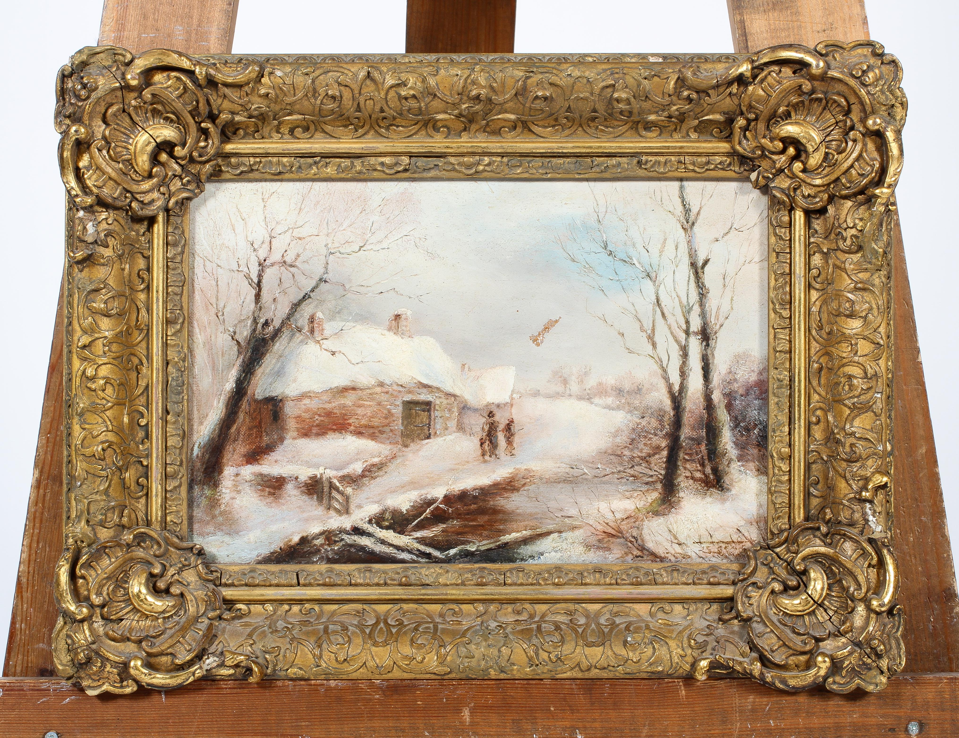 George Turner, Breadsall, Derbyshire - a snowy scene, oil on canvas, signed lower right, - Image 2 of 4