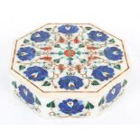 An Indian pietra dura inlaid octagonal jewellery box and cover, inlaid with lapis lazuli,