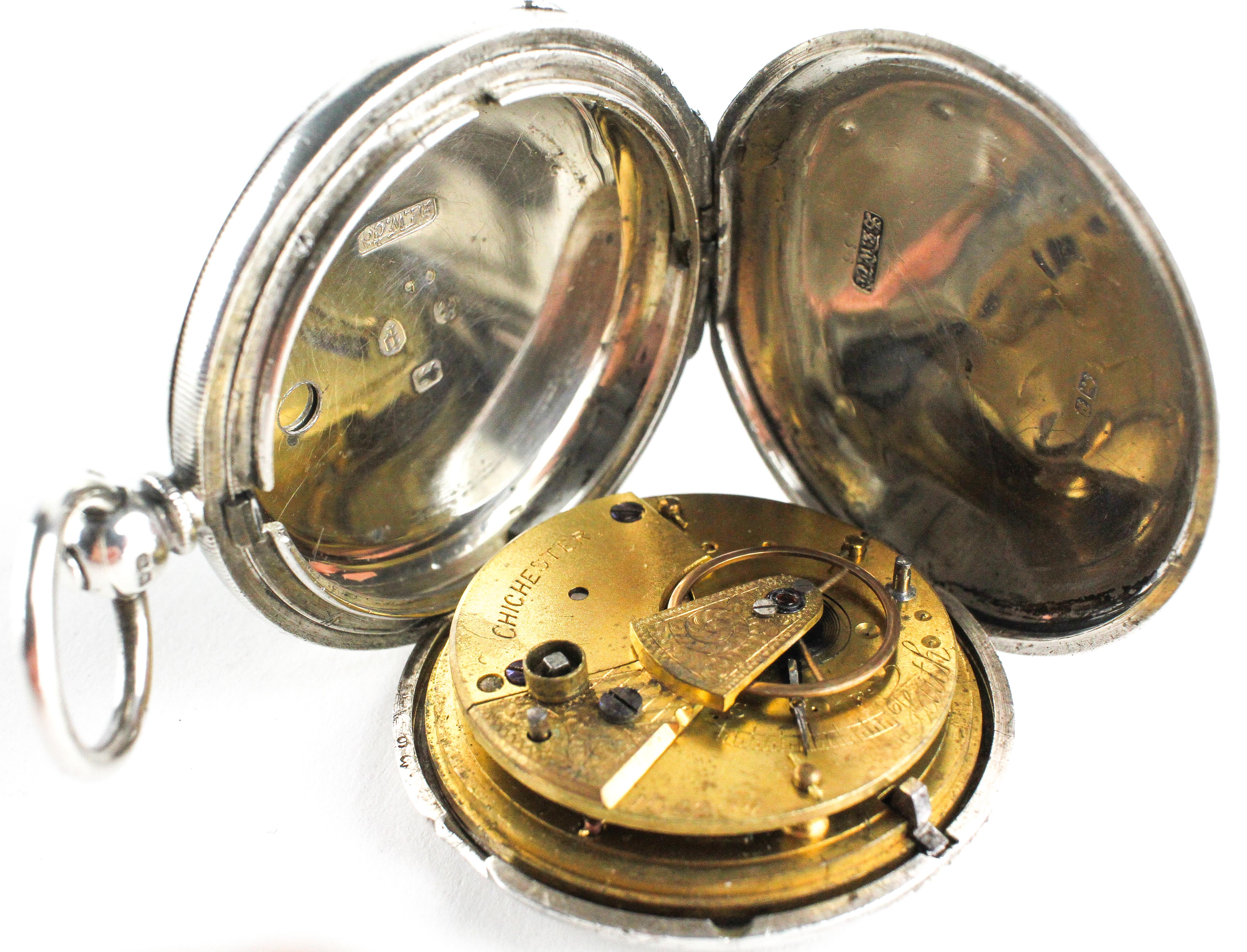 A full hunter pocket watch. Circular white dial with roman numerals. Key wound movement. - Image 2 of 2