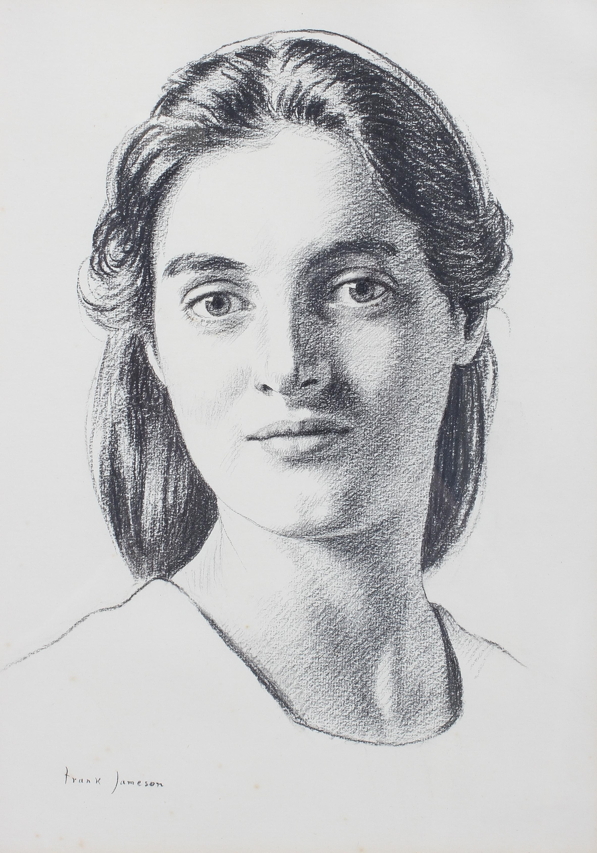Frank Jameson, pencil portrait of his daughter, signed lower right, glazed and framed,