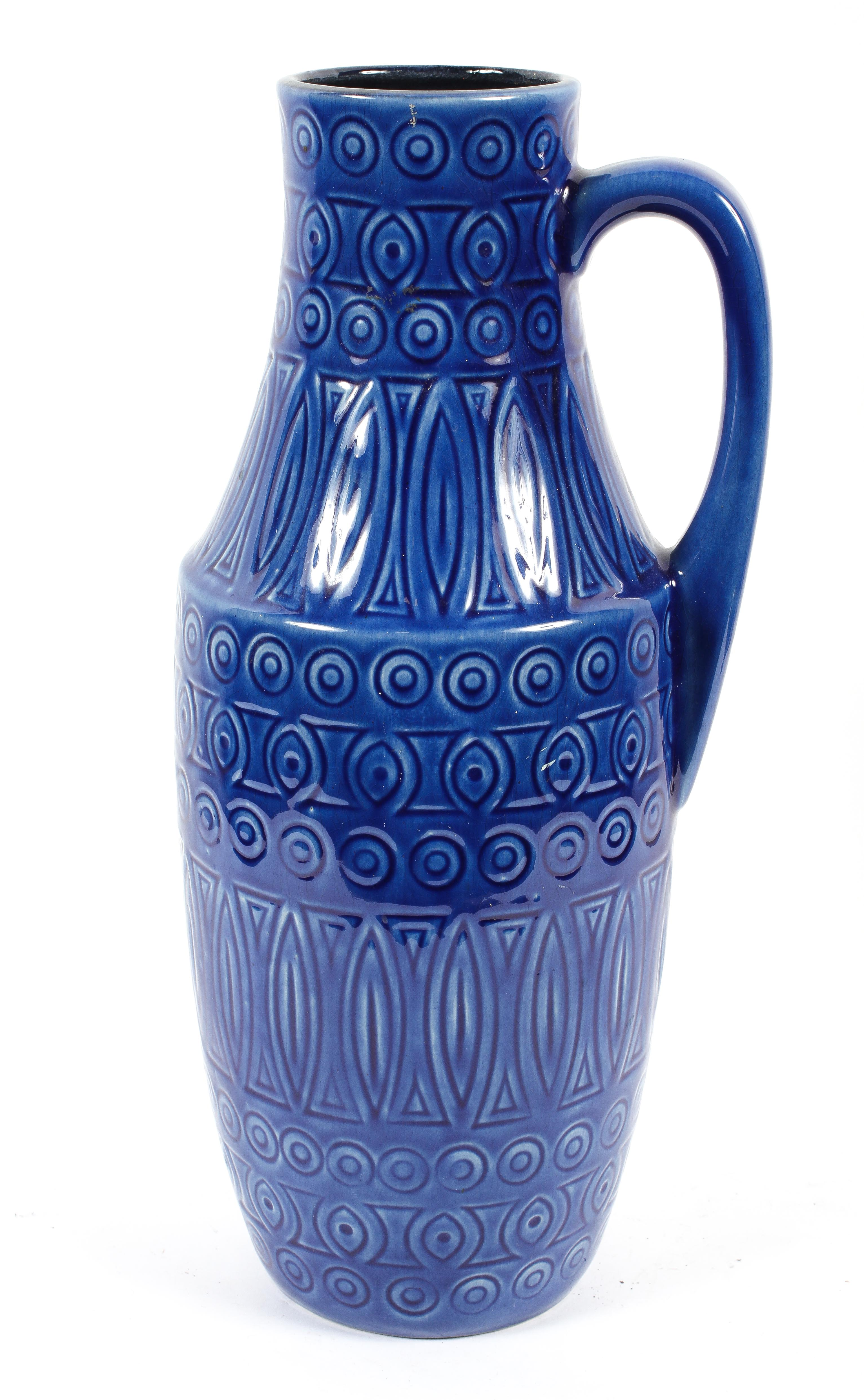A West German pottery vase, circa 1960, numbered 423-47,