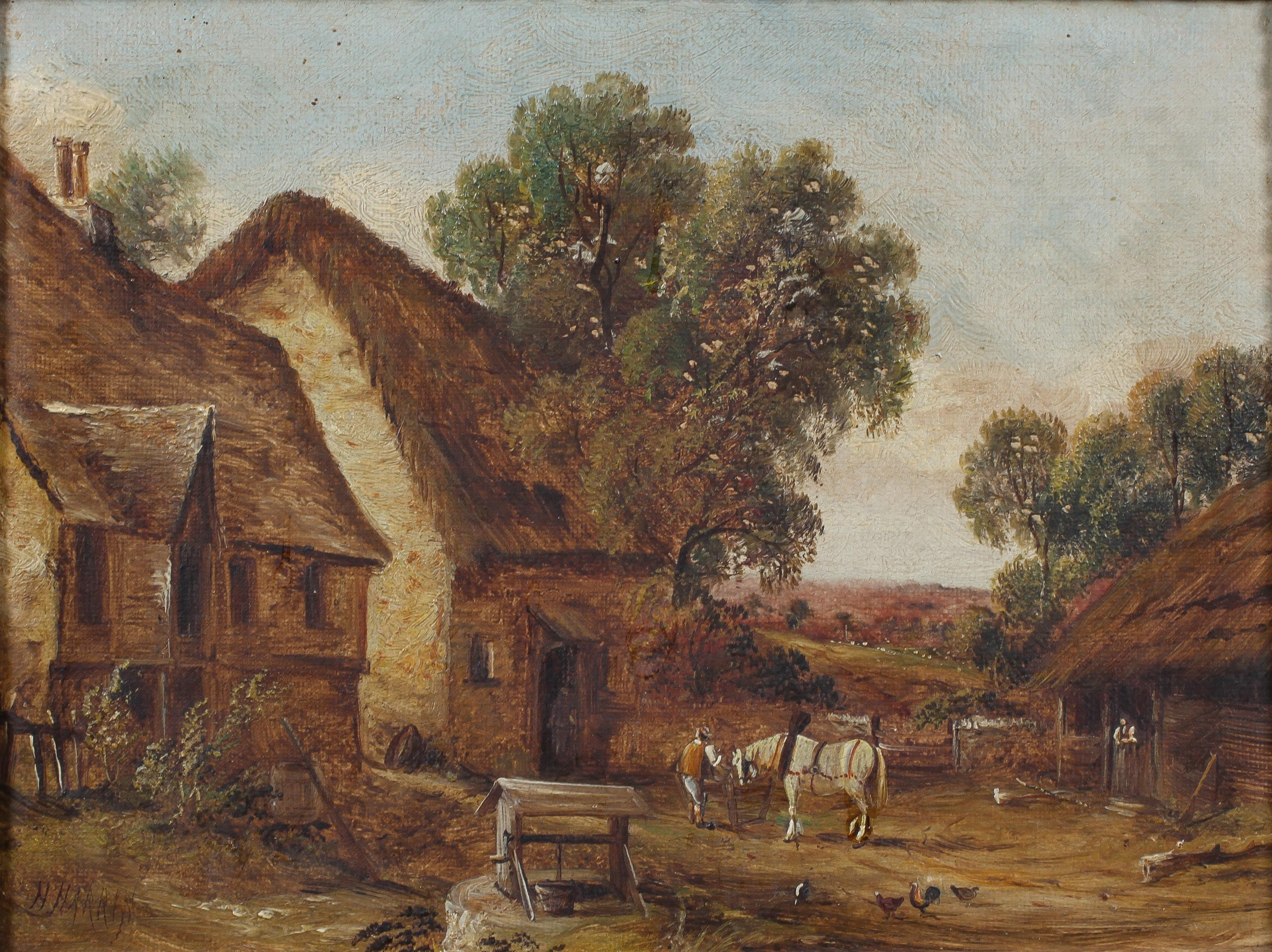 H Harris, three rural landscapes, oil on canvas, within giltwood frames, each signed, - Image 4 of 4