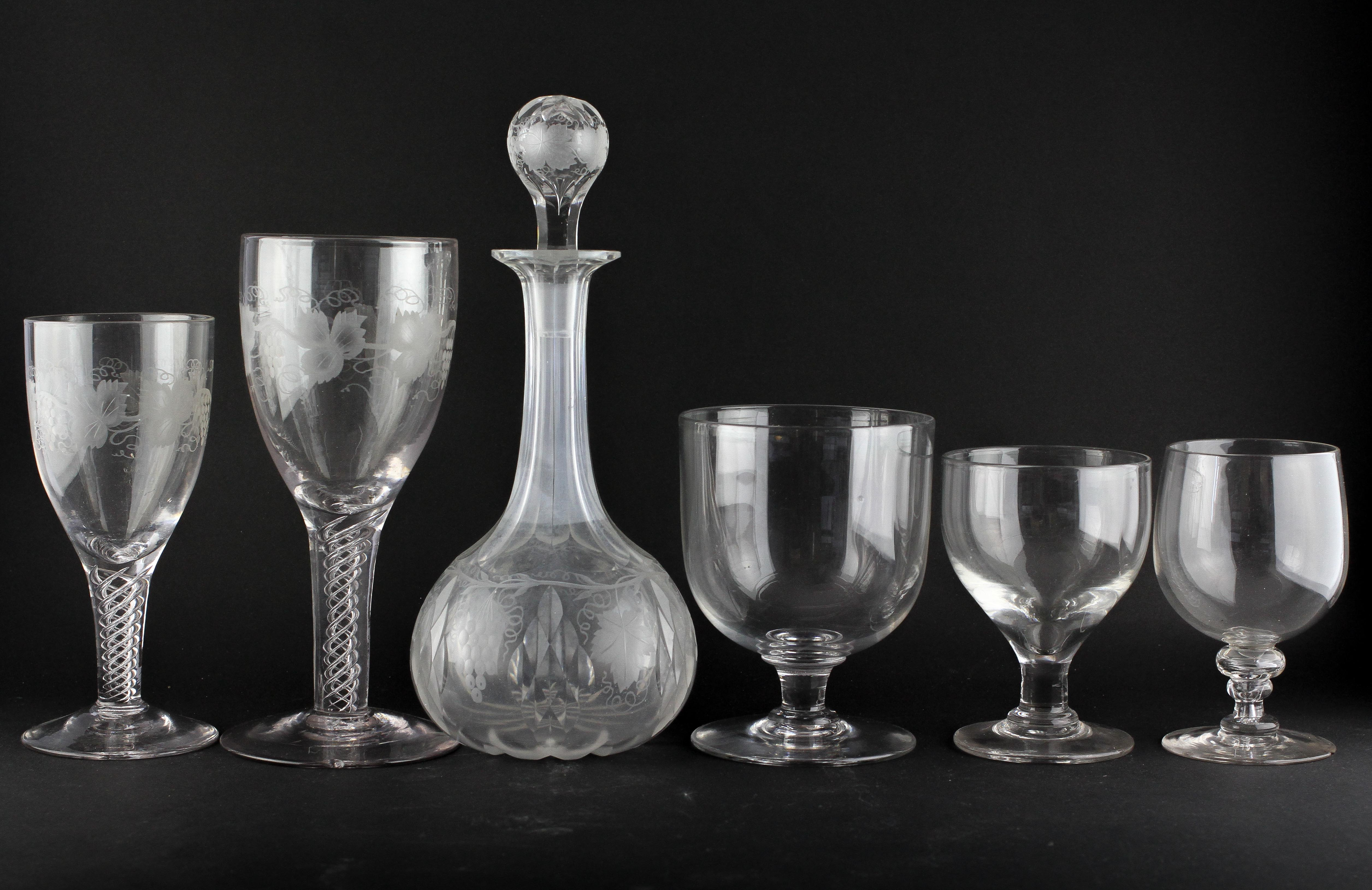 Five drinking glasses and a decanter and stopper,