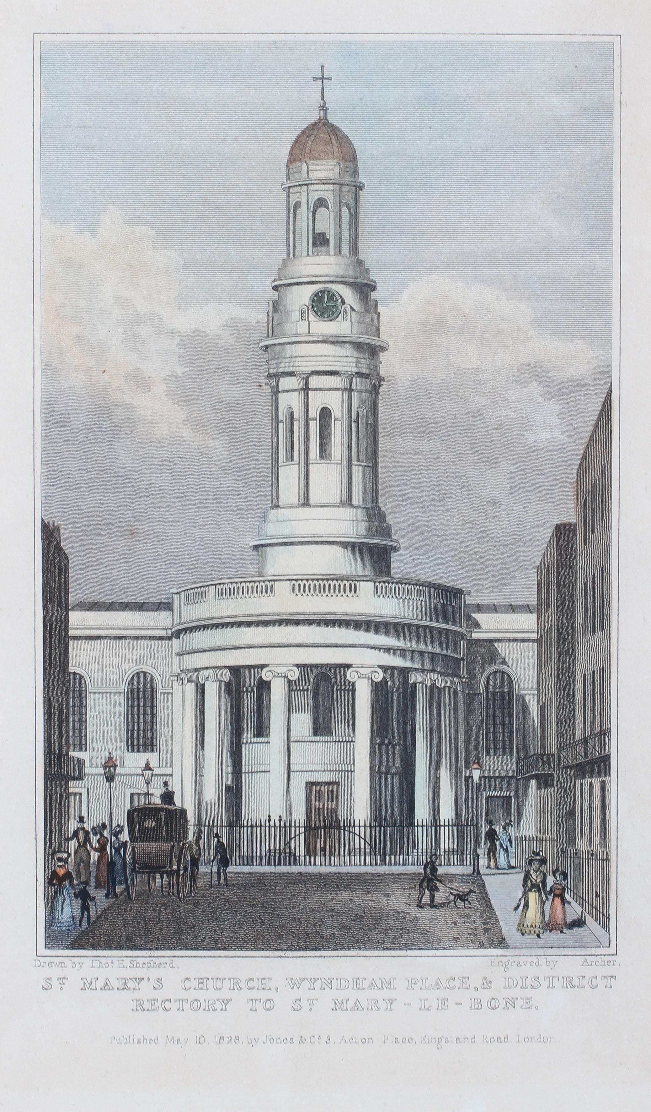 Two early 19th century coloured prints of London Churches, - Image 2 of 3