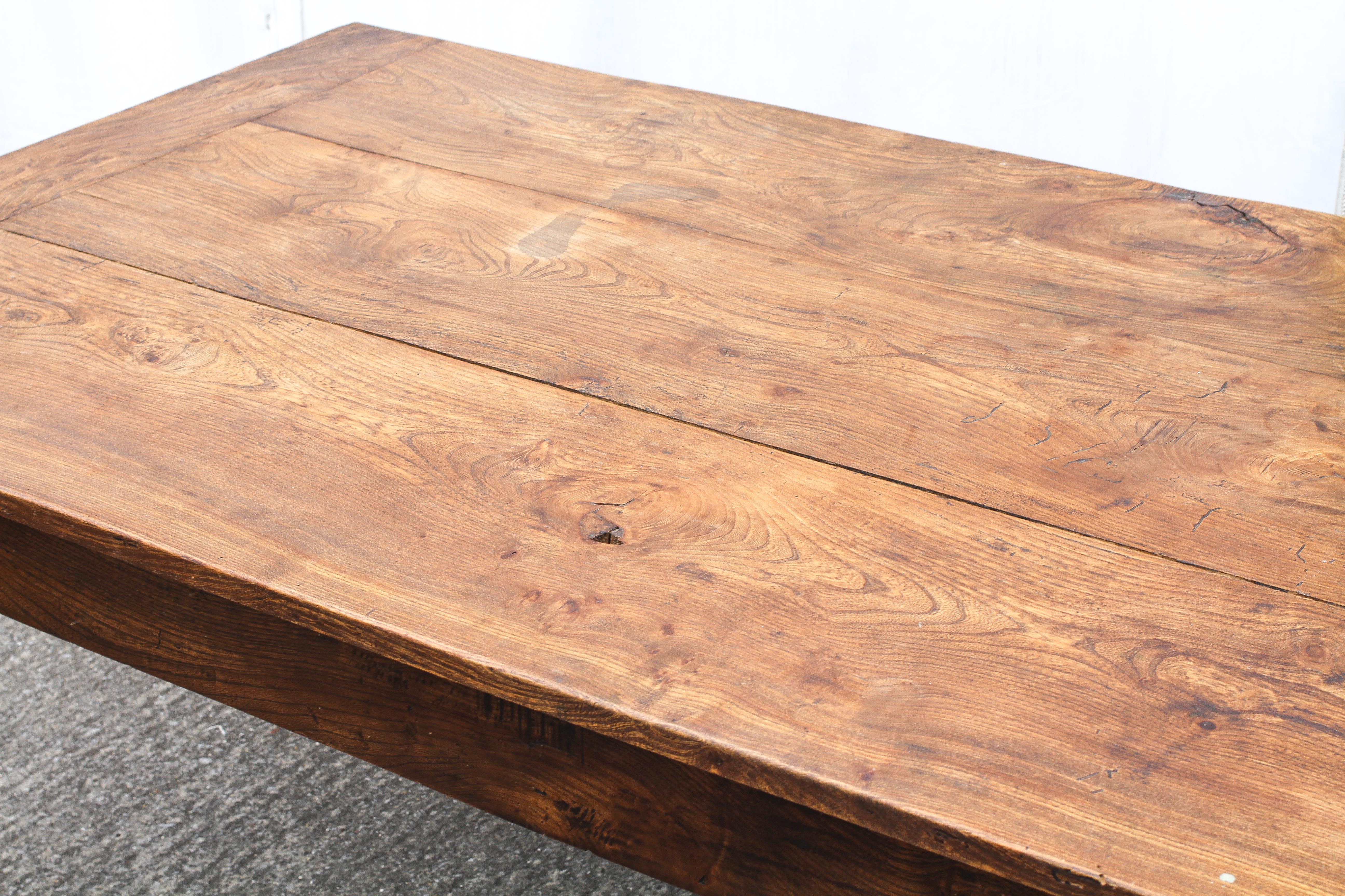 An elm refectory table, possibly French, the cleated, - Image 2 of 5