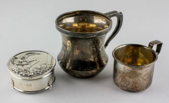 Two silver mugs, one being hallmarked Birmingham 1930 by A & J Zimmerman ltd,