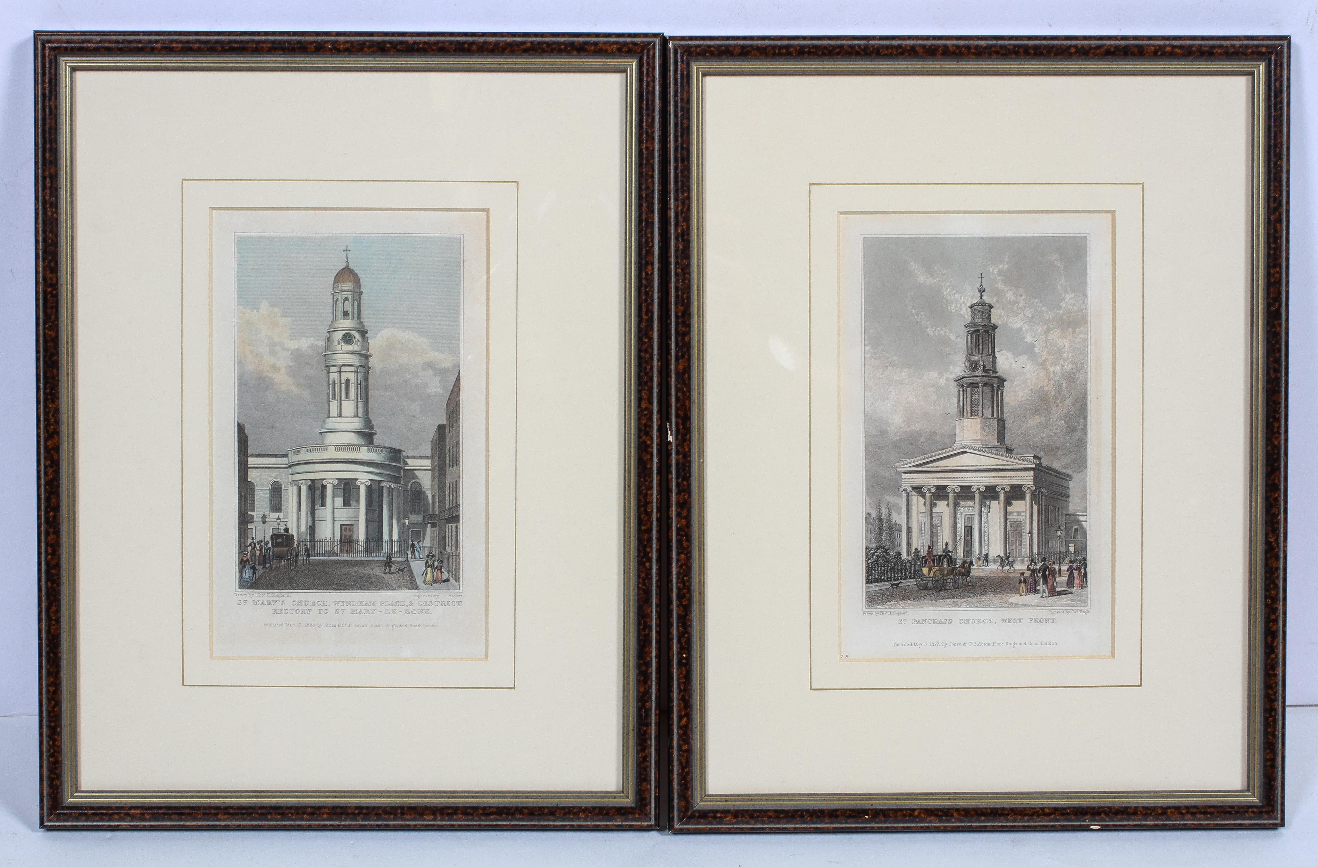 Two early 19th century coloured prints of London Churches,
