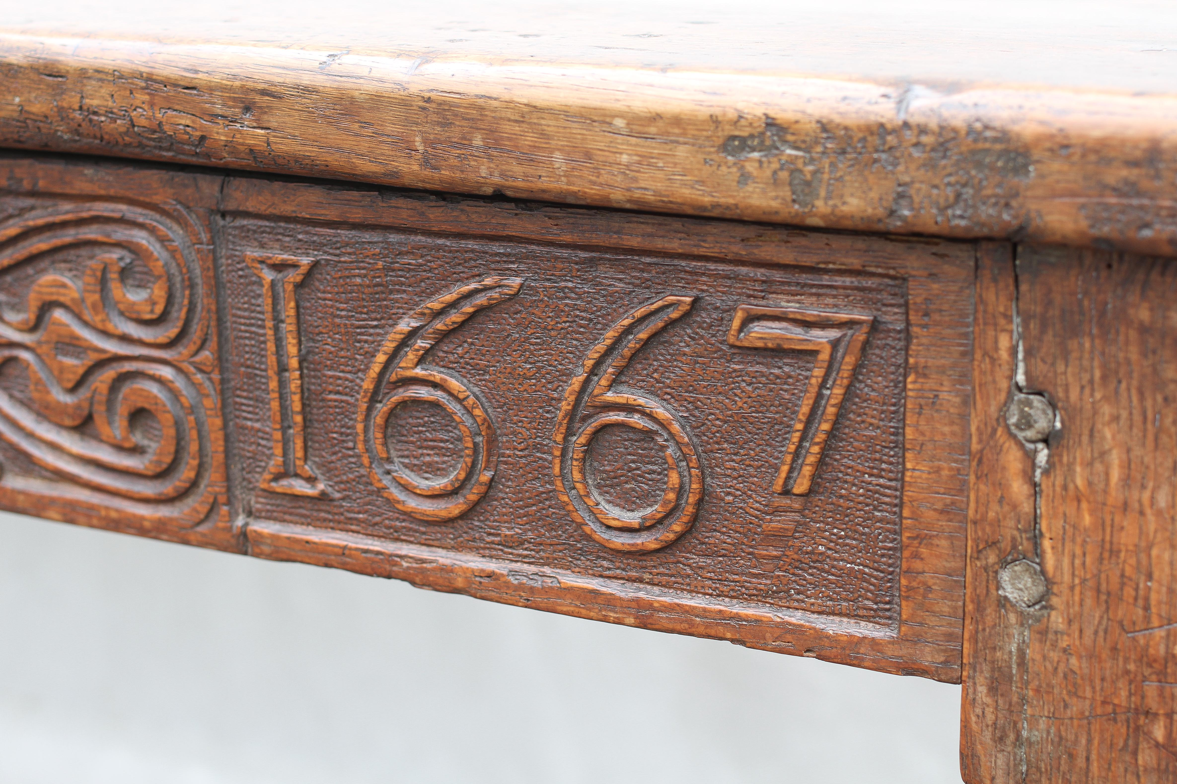An oak refectory table, 17th century and later, - Image 4 of 4