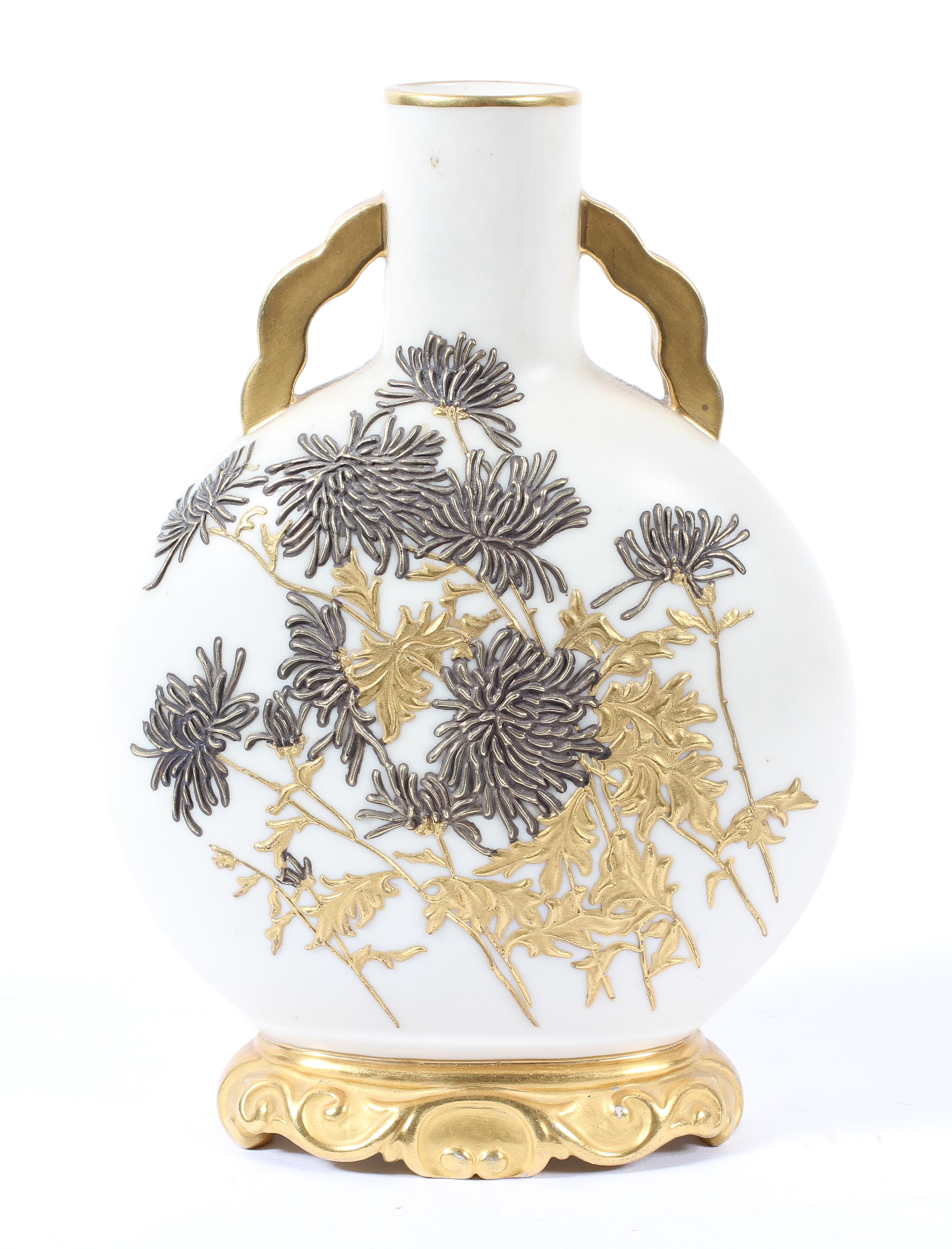 A Royal Worcester Old Ivory Moon Flask, date code Y, with gilt aesthetic style floral decoration,