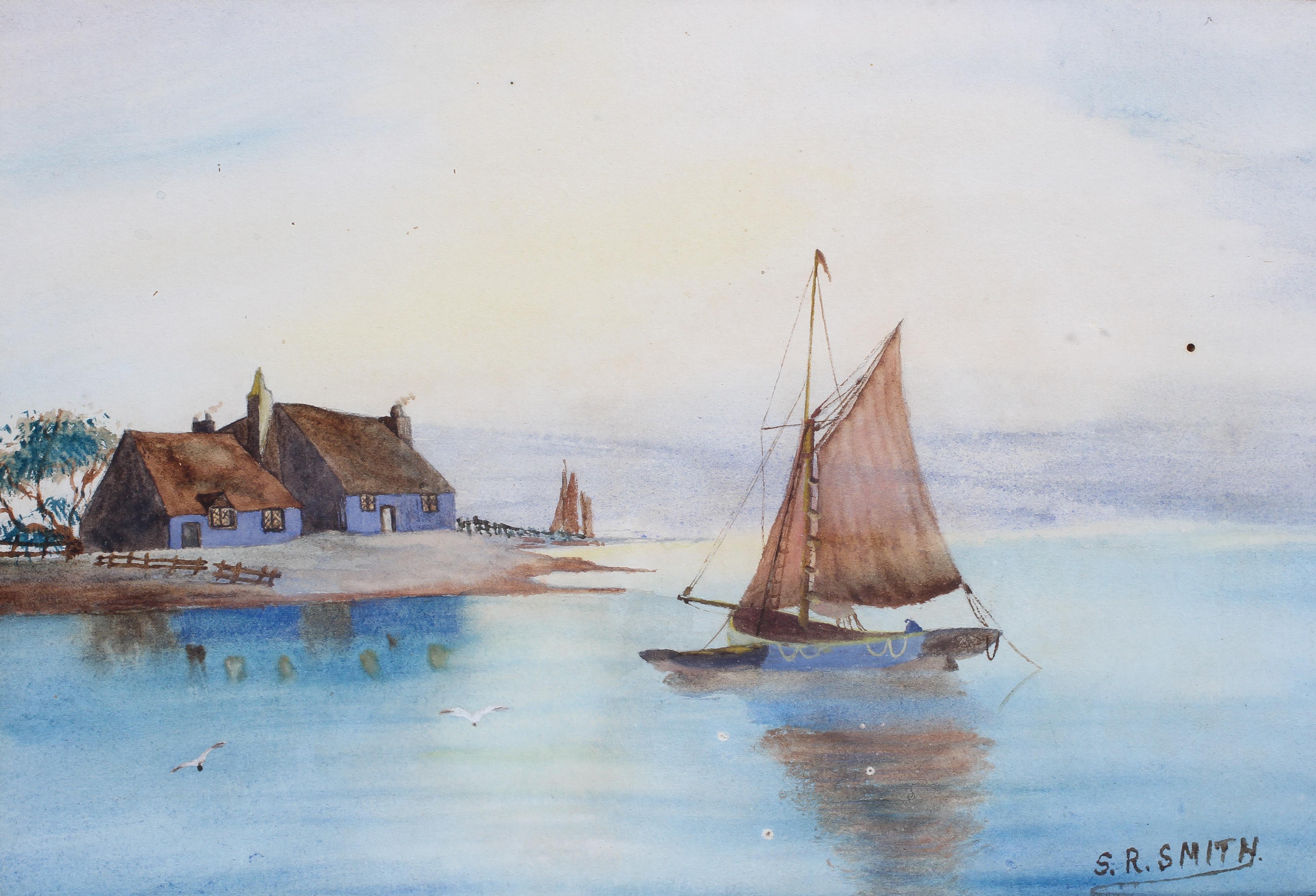Abraham Hulk Jnr (1851-1922), Fishing Ship at Harbour Entrance, - Image 4 of 4