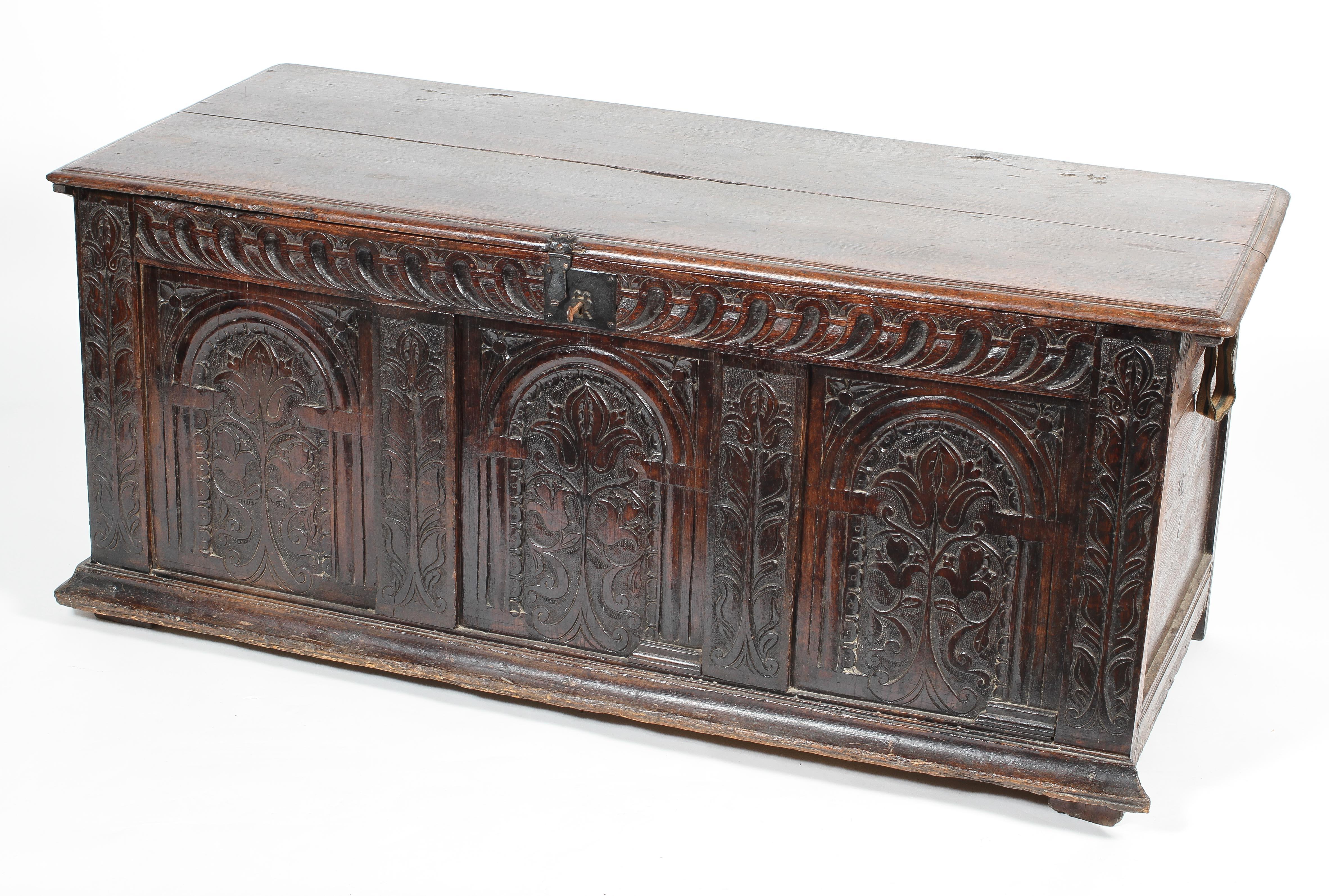 An oak coffer, 17th century,