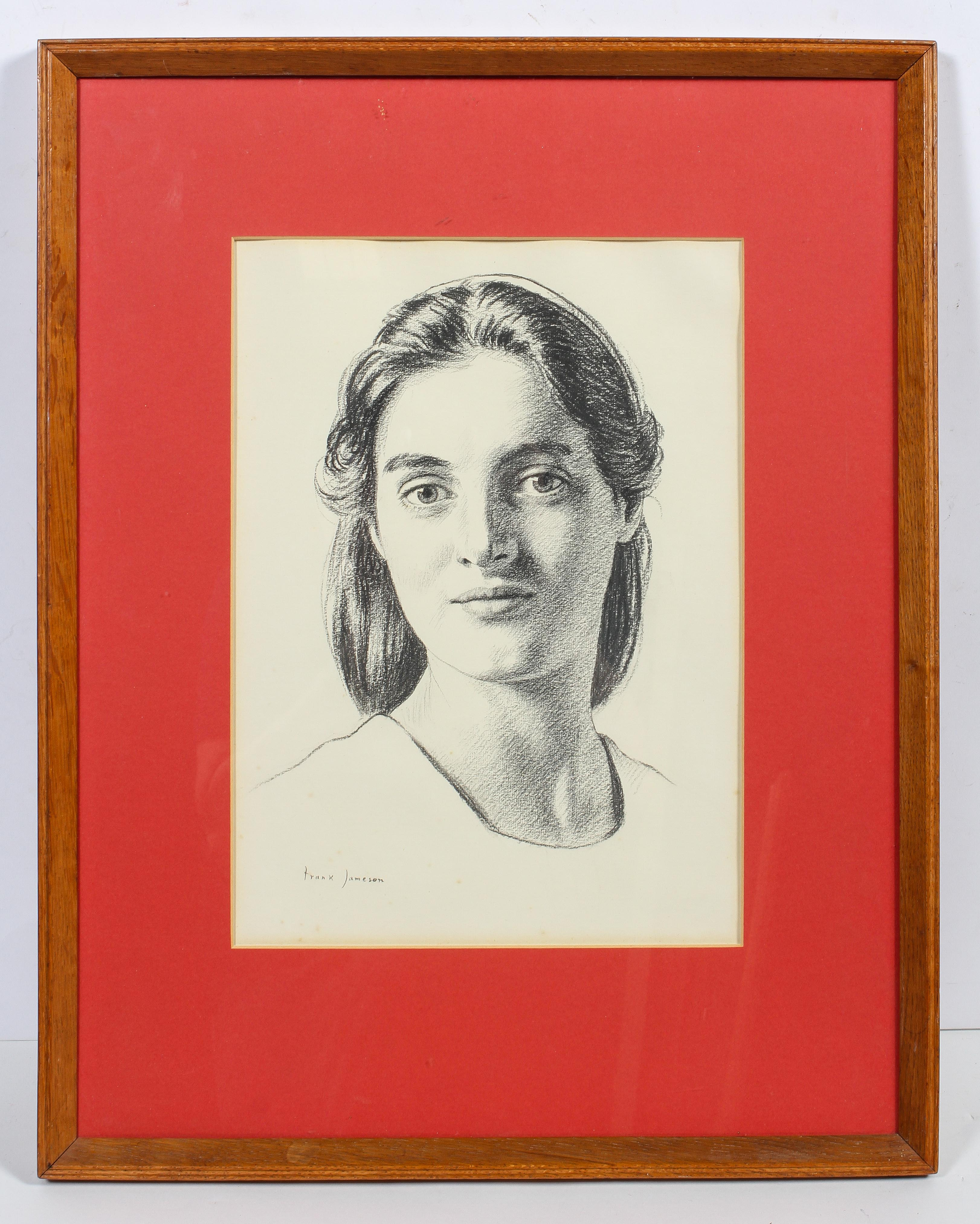 Frank Jameson, pencil portrait of his daughter, signed lower right, glazed and framed, - Image 2 of 4