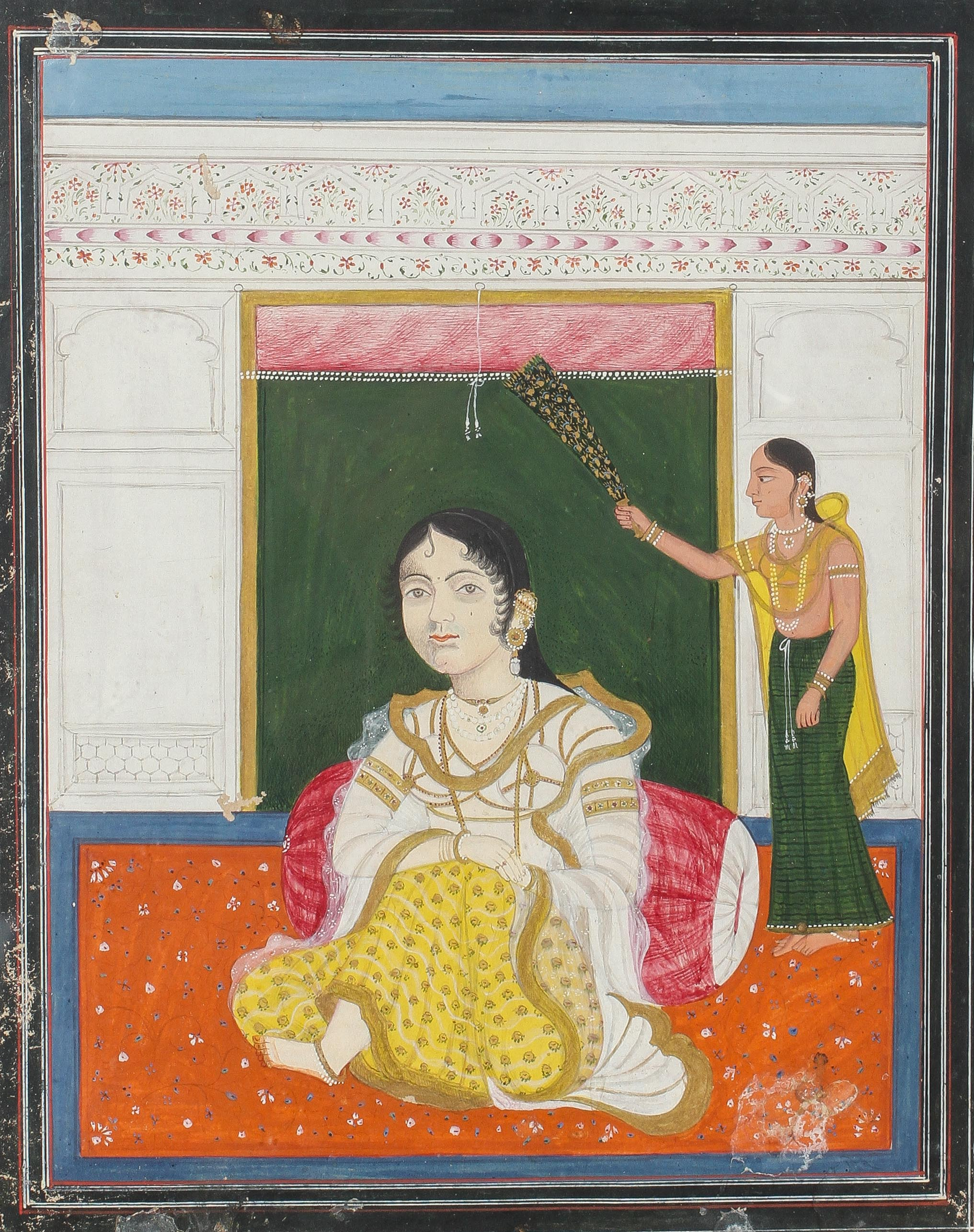 Indian miniatures, a pair of erotic scenes, watercolour and gilding, in one frame, - Image 3 of 4