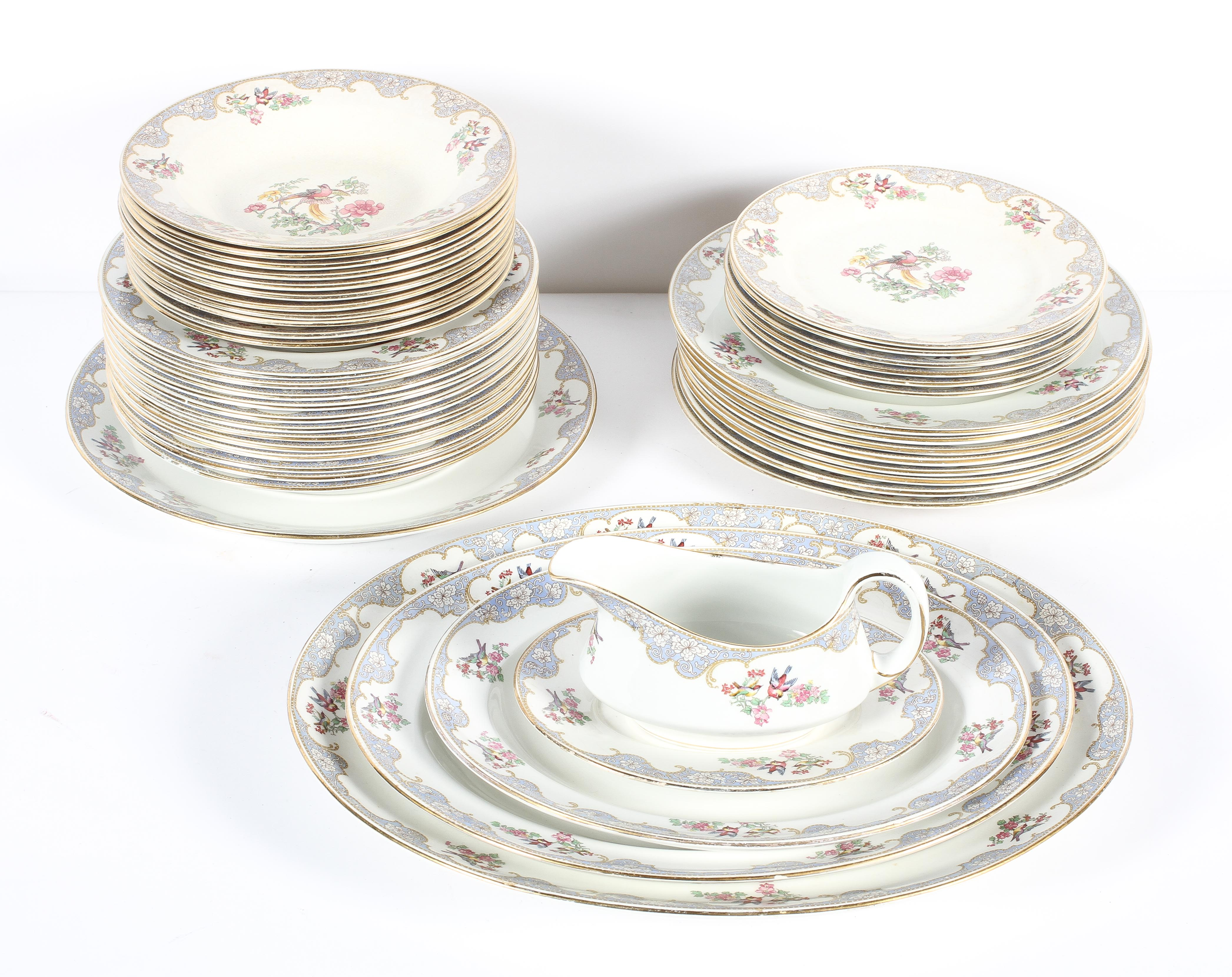 A Crescent pottery 'Bordeaux' pattern part dinner service, circa 1900, printed black marks,