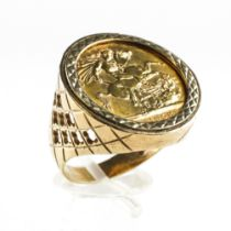 A yellow metal ring set with a full sovereign dated 1958. Hallmarked 9ct gold, London, 1970.