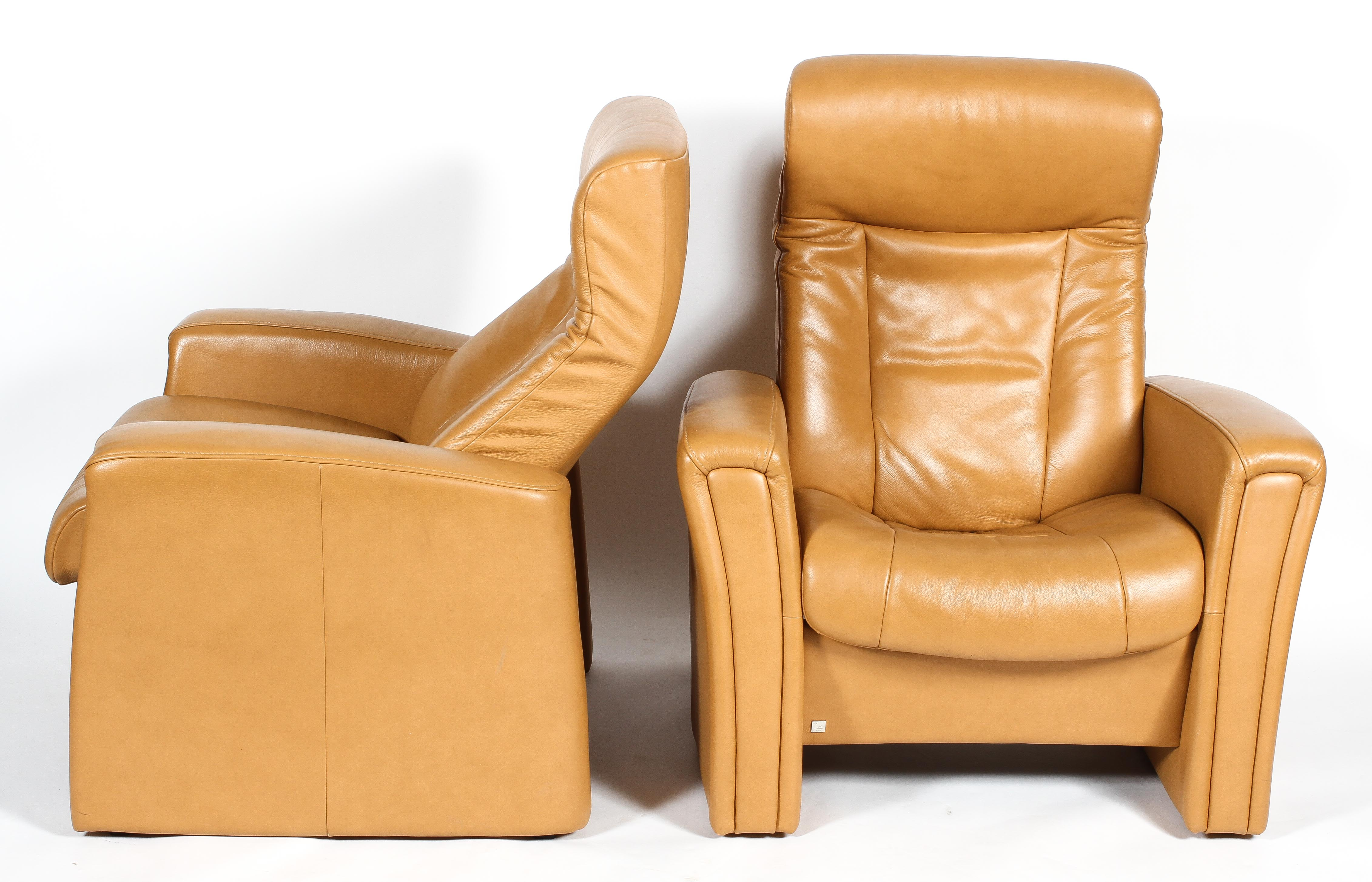 Two Fjords (Norwegian) reclining chairs, upholstered in pale tan leather style fabric, - Image 3 of 3