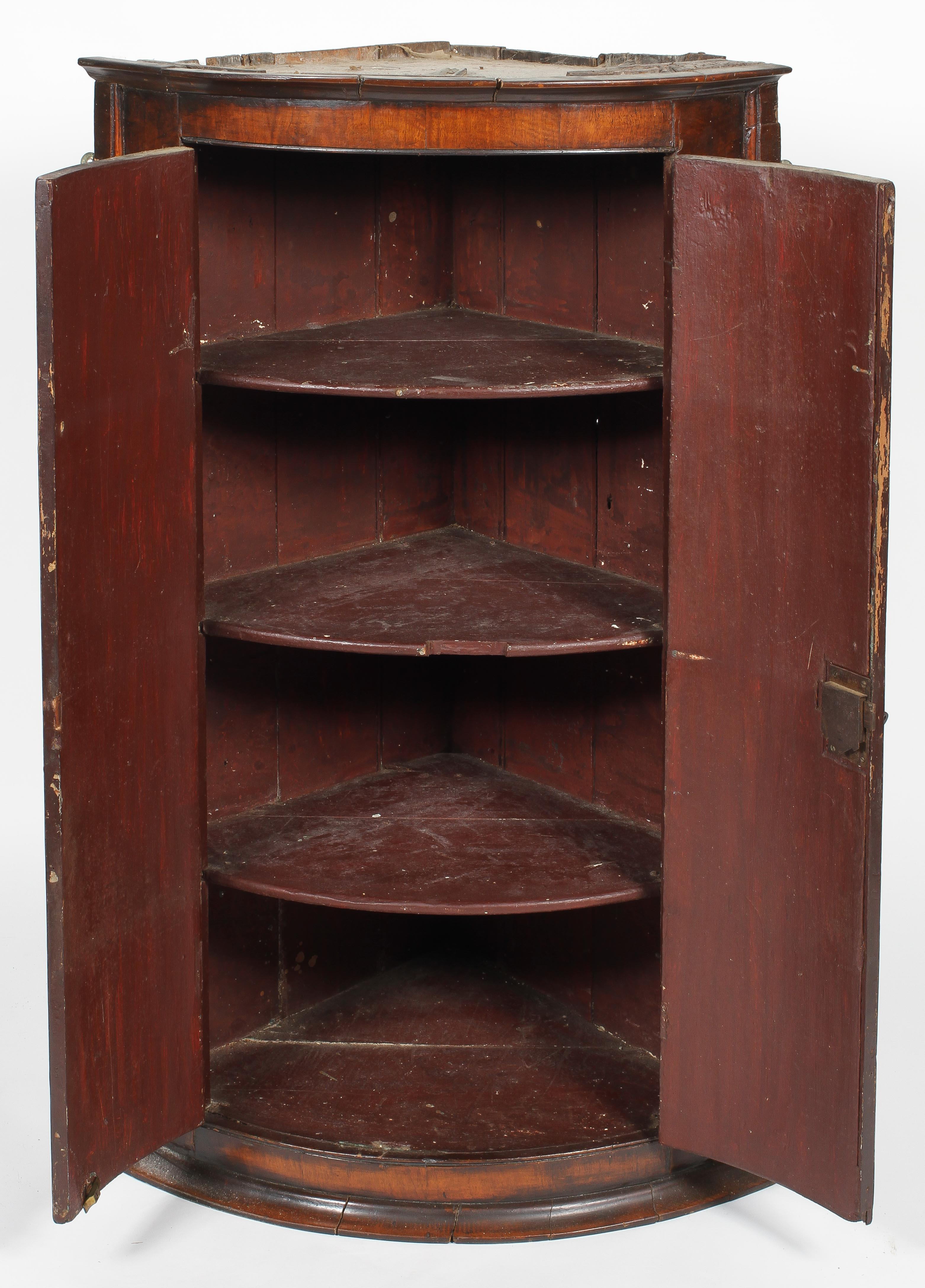 A 19th century walnut corner cupboard, of D-shape section, revealing three shelves, - Image 2 of 2