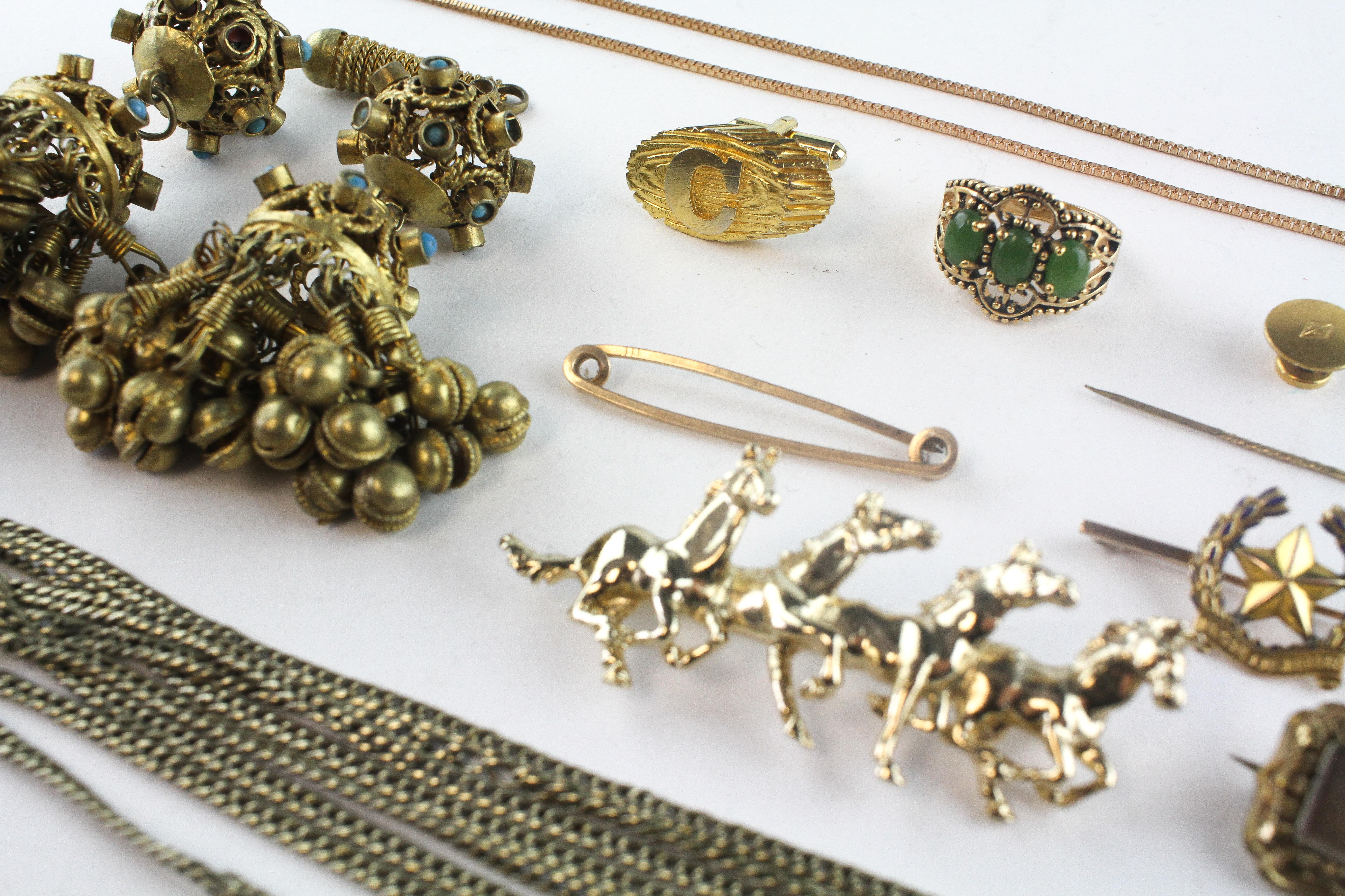 A collection of miscellaneous costume jewellery to include brooches, chains, - Image 2 of 2