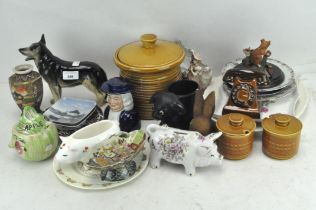 """A collection of assorted ceramics, to include a Royal Doulton """"Bunnykins"""" plate,"""