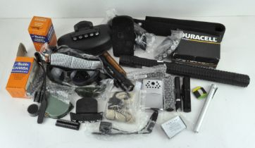 Assorted torches, glasses, a Cree T6 X-110 torch, a Leupold sportsman compass and more