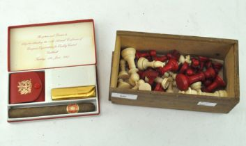 An ivory chess set, 1920s, in white and red, complete,