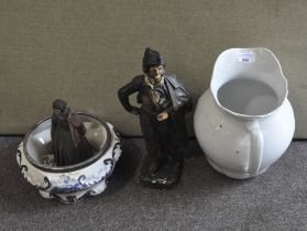 A group of ceramics, including: a Staffordshire pottery water jug, a jardiniere,