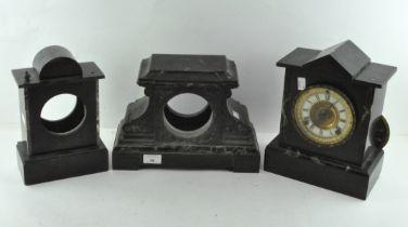 Three slate and marble inlaid part mantel clocks,